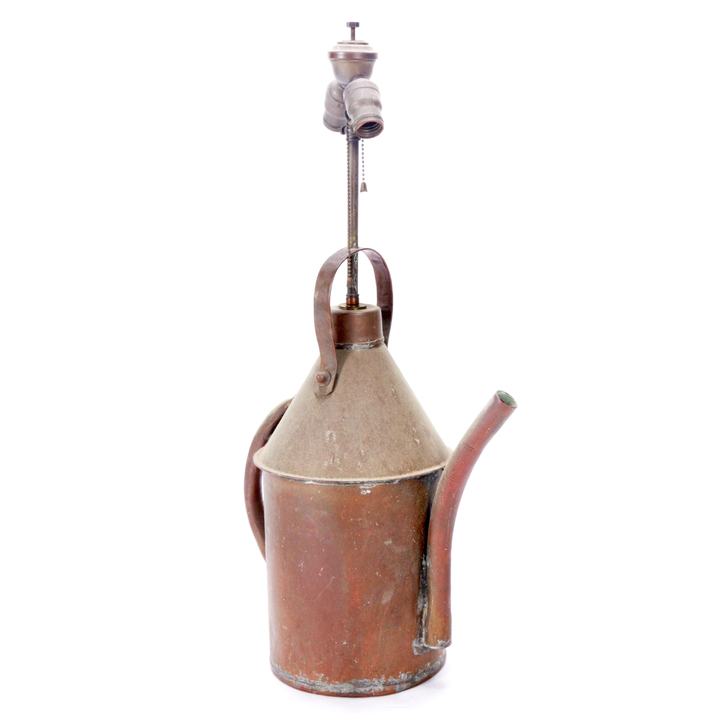 Vintage Copper Oil Can Table Lamp