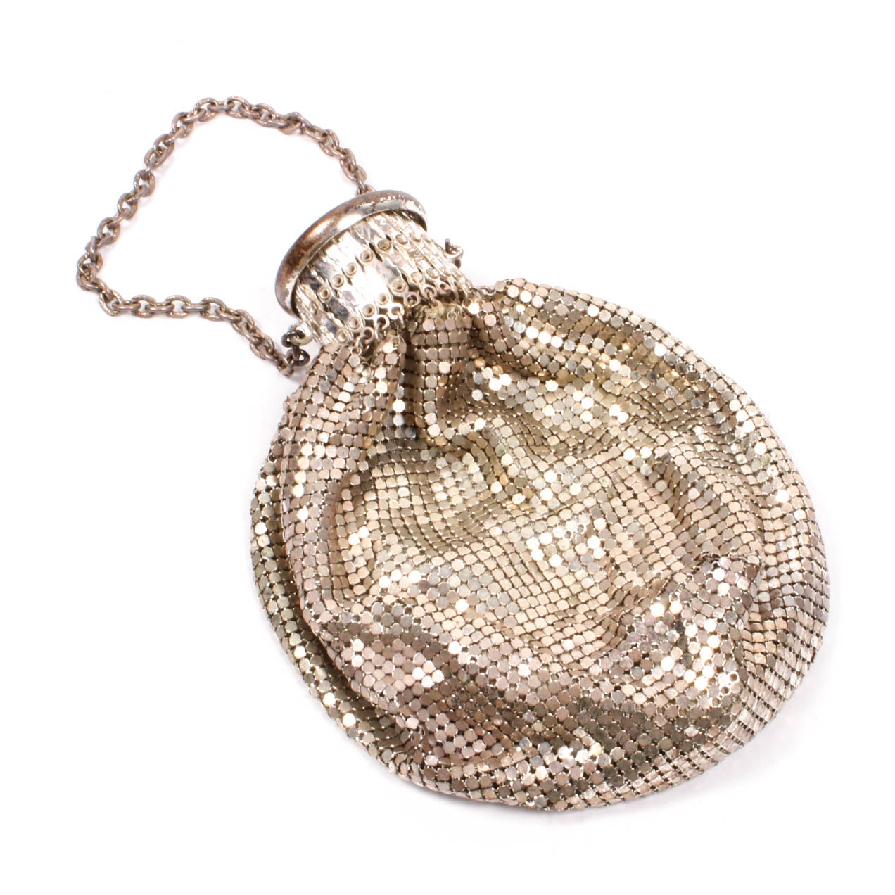 Early 20th Century Silver Tone Mesh Gate Top Bag