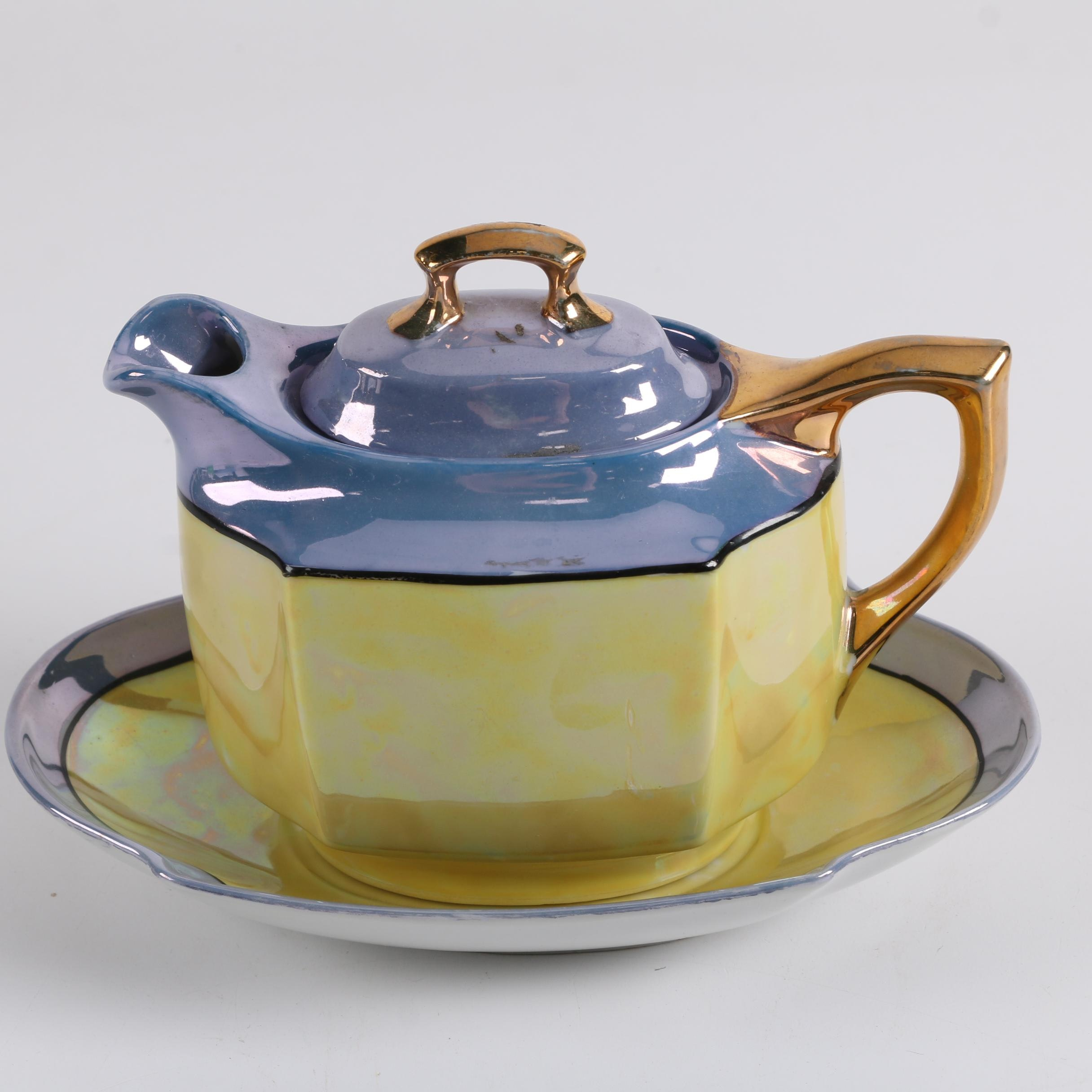 Japanese Porcelain Lusterware Teapot and Plate