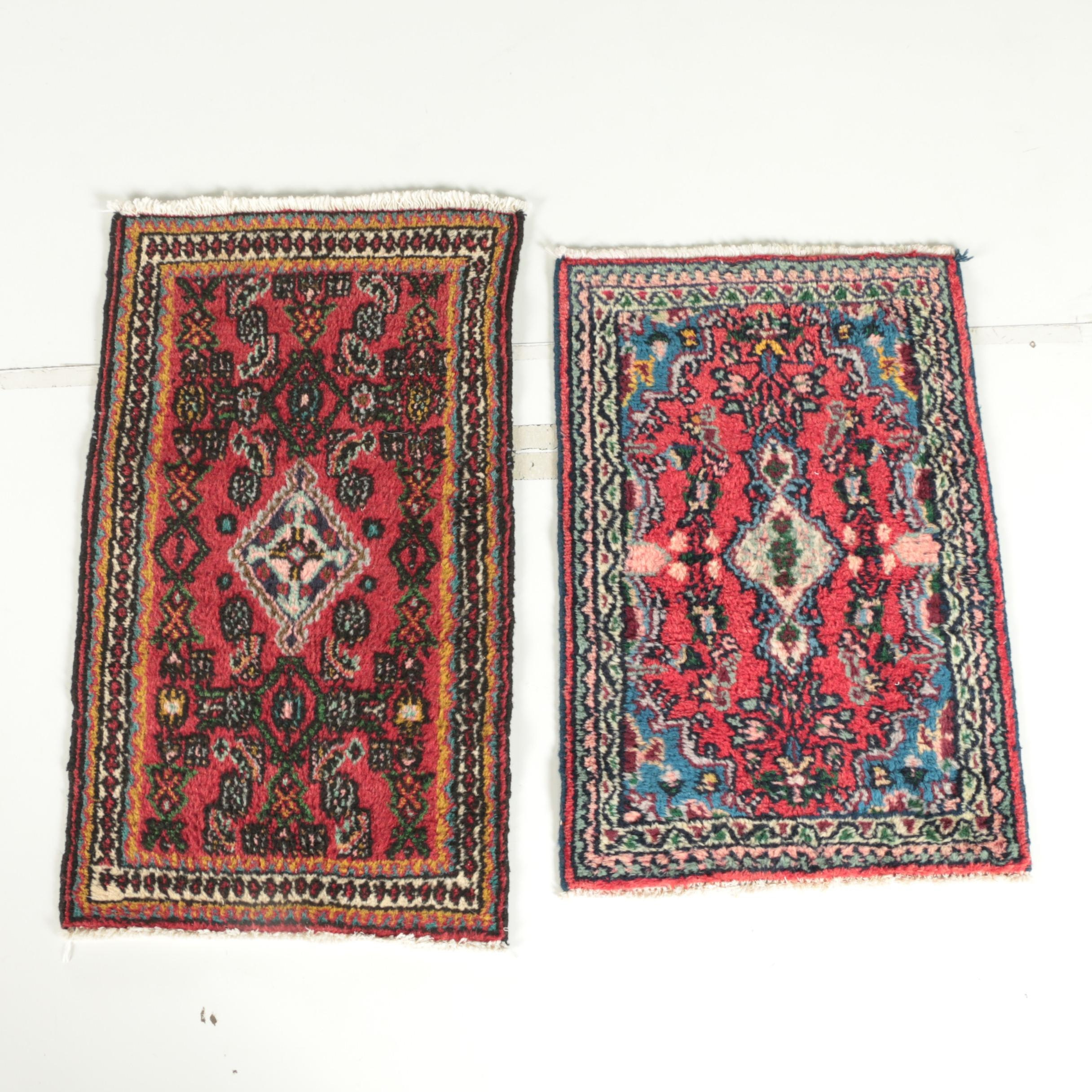 Hand-Knotted Persian Hamadan Wool Accent Rugs