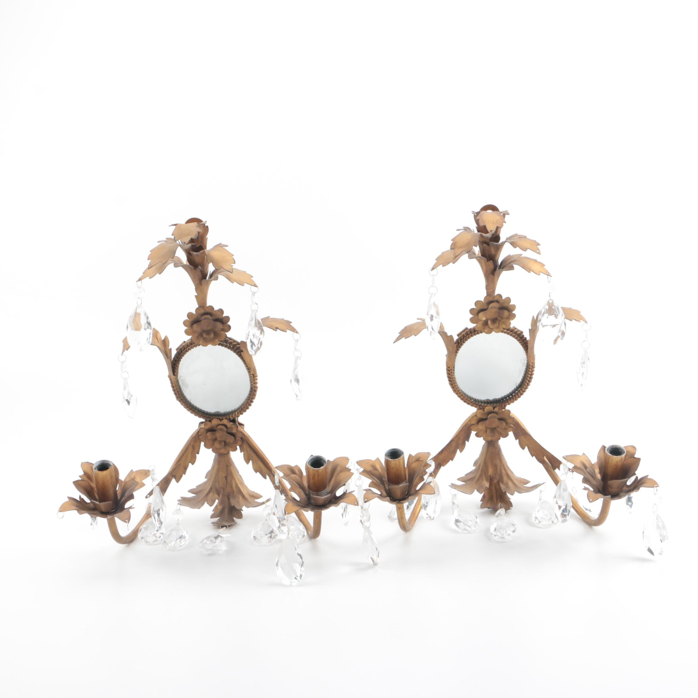 Gilt Tole Style Mirrored Two-Light Wall Sconces