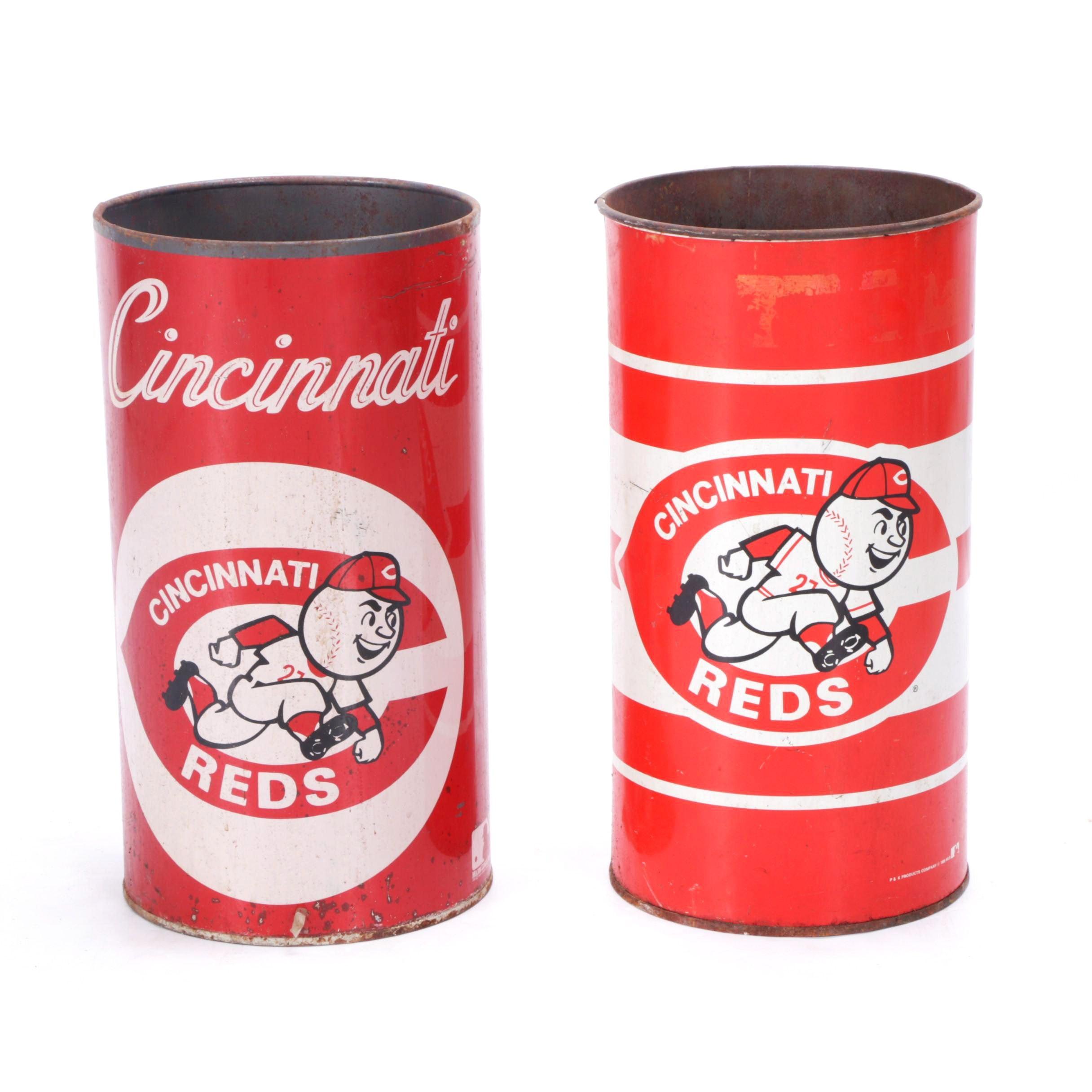 Vintage Cincinnati Reds Metal Trash Cans