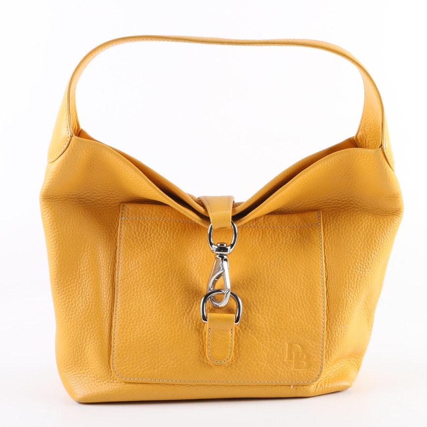 52d93535bceb Dooney   Bourke Yellow Pebbled Leather Hobo Bag   EBTH