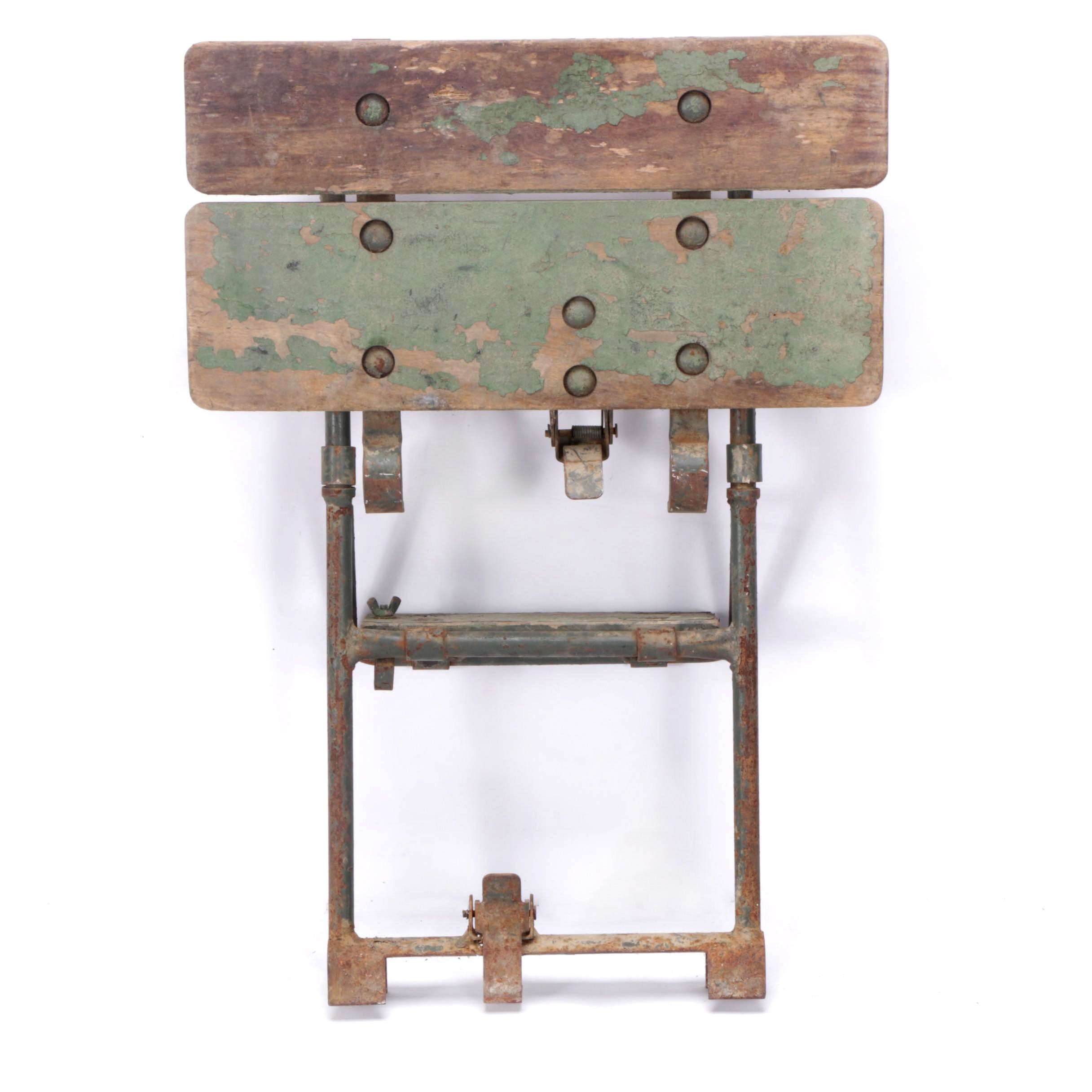 Vintage Metal and Wooden Folding Step Stool