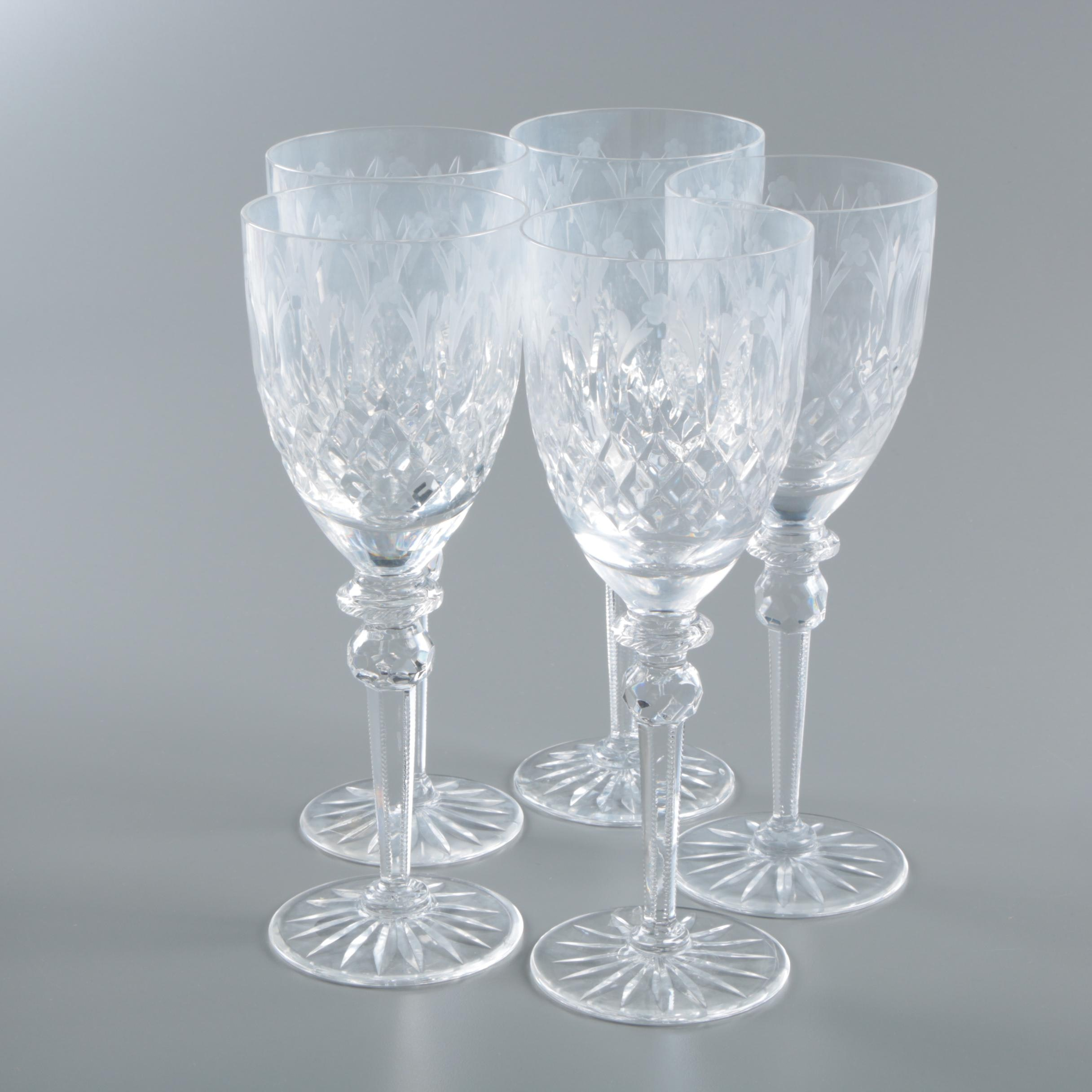 Austrian Crystal Wine Glasses with Etched Flowers