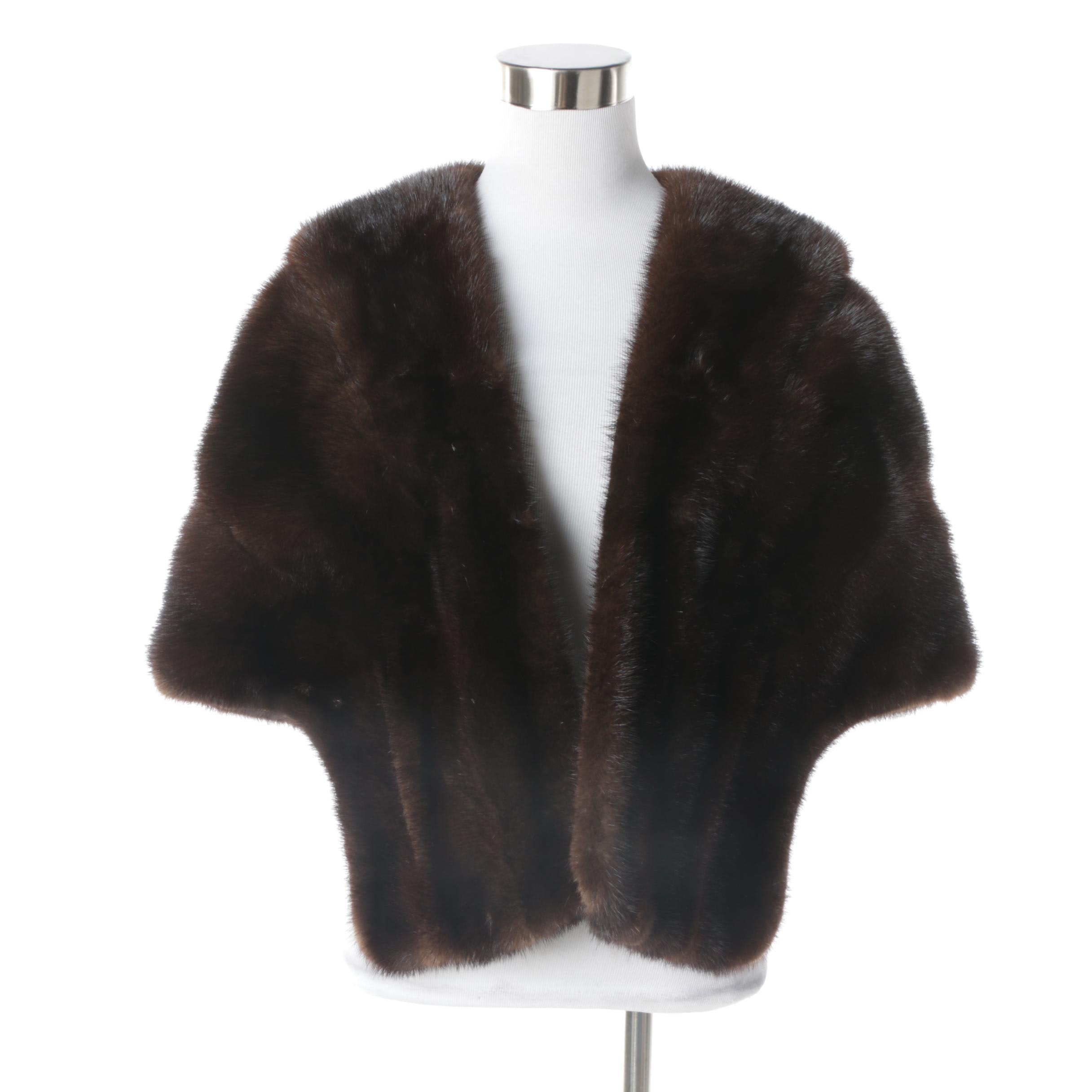Women's Vintage Dark Brown Mink Fur Stole