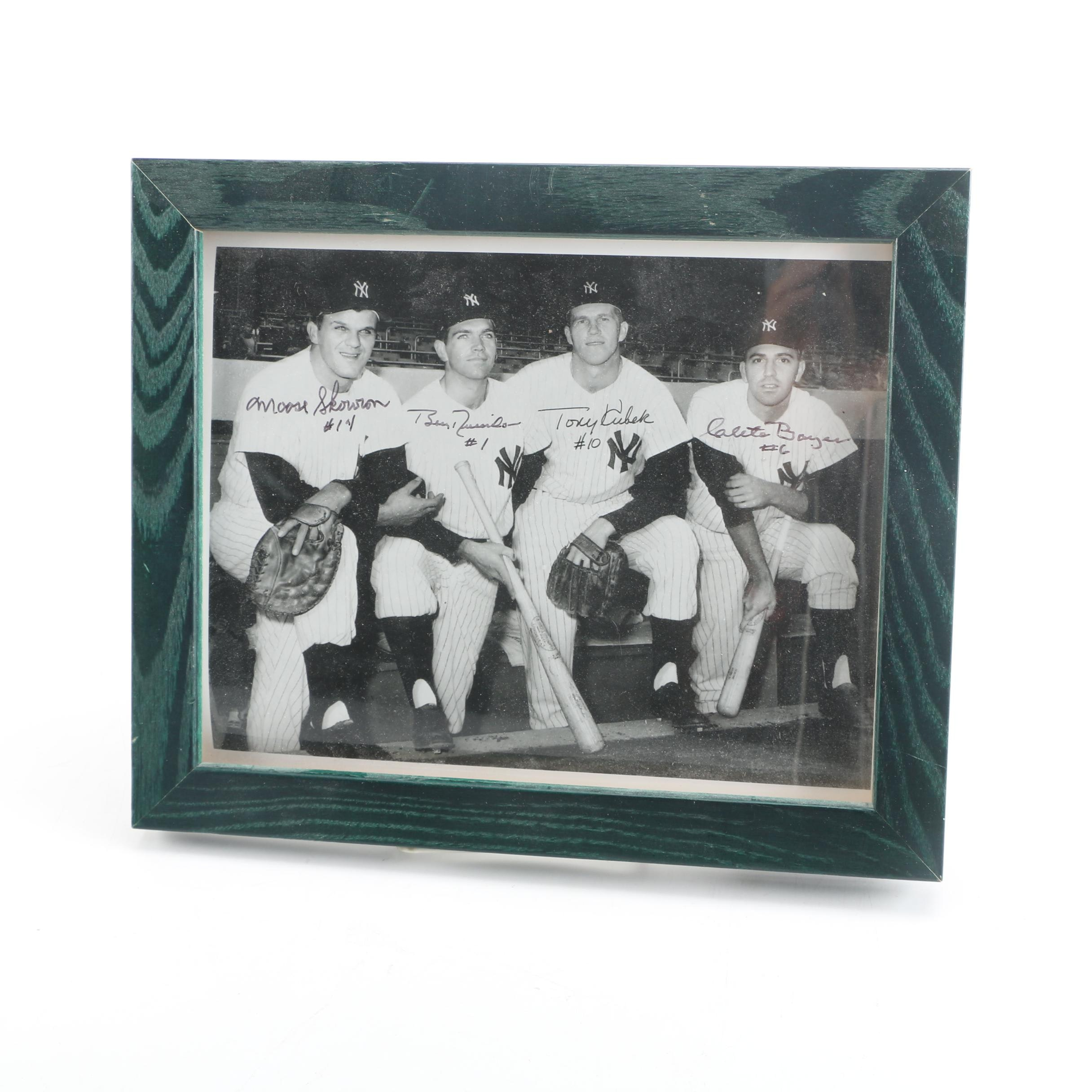 New York Yankees Autographed Framed Photograph Including Billy Martin