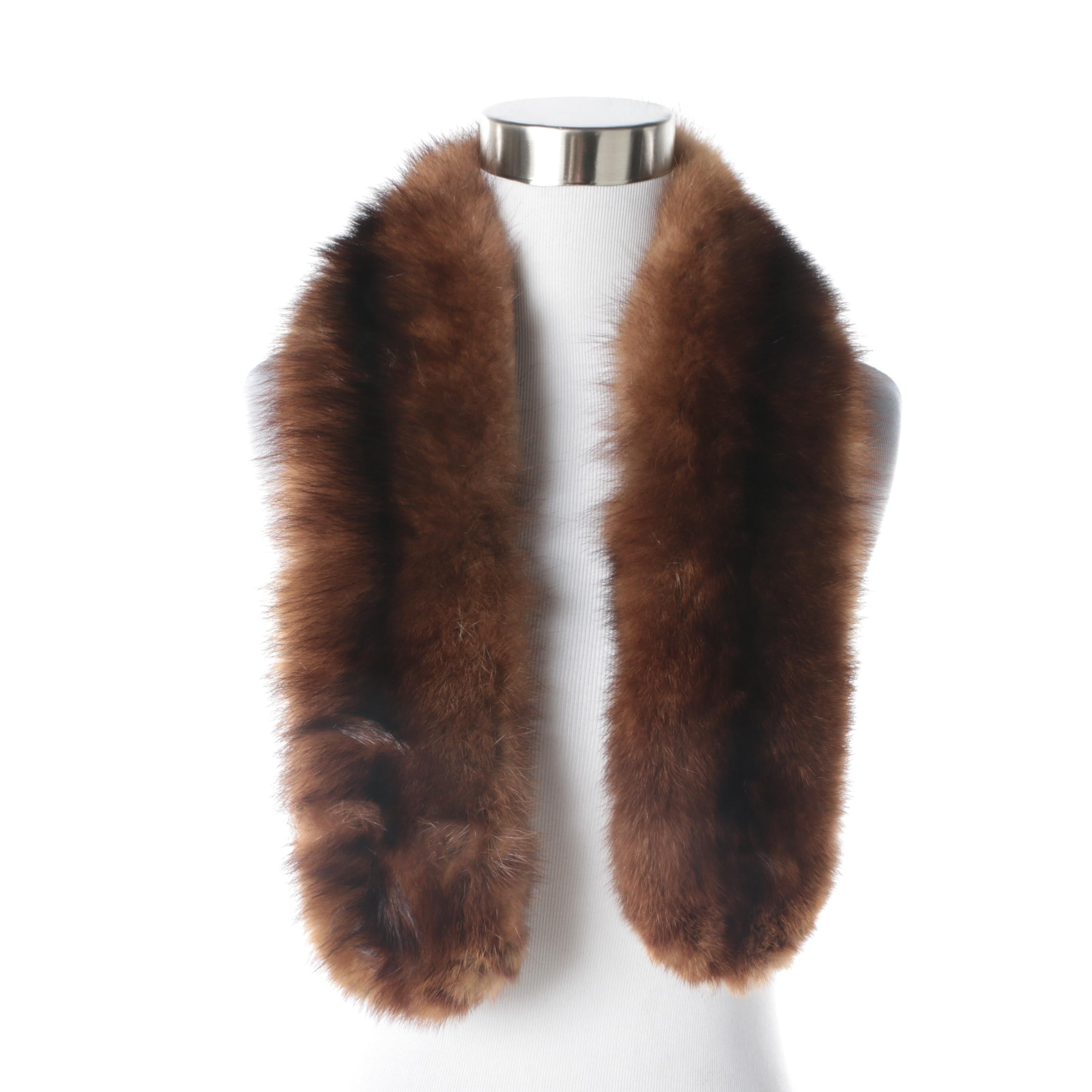 Women's Vintage Brown Marten Fur Collar
