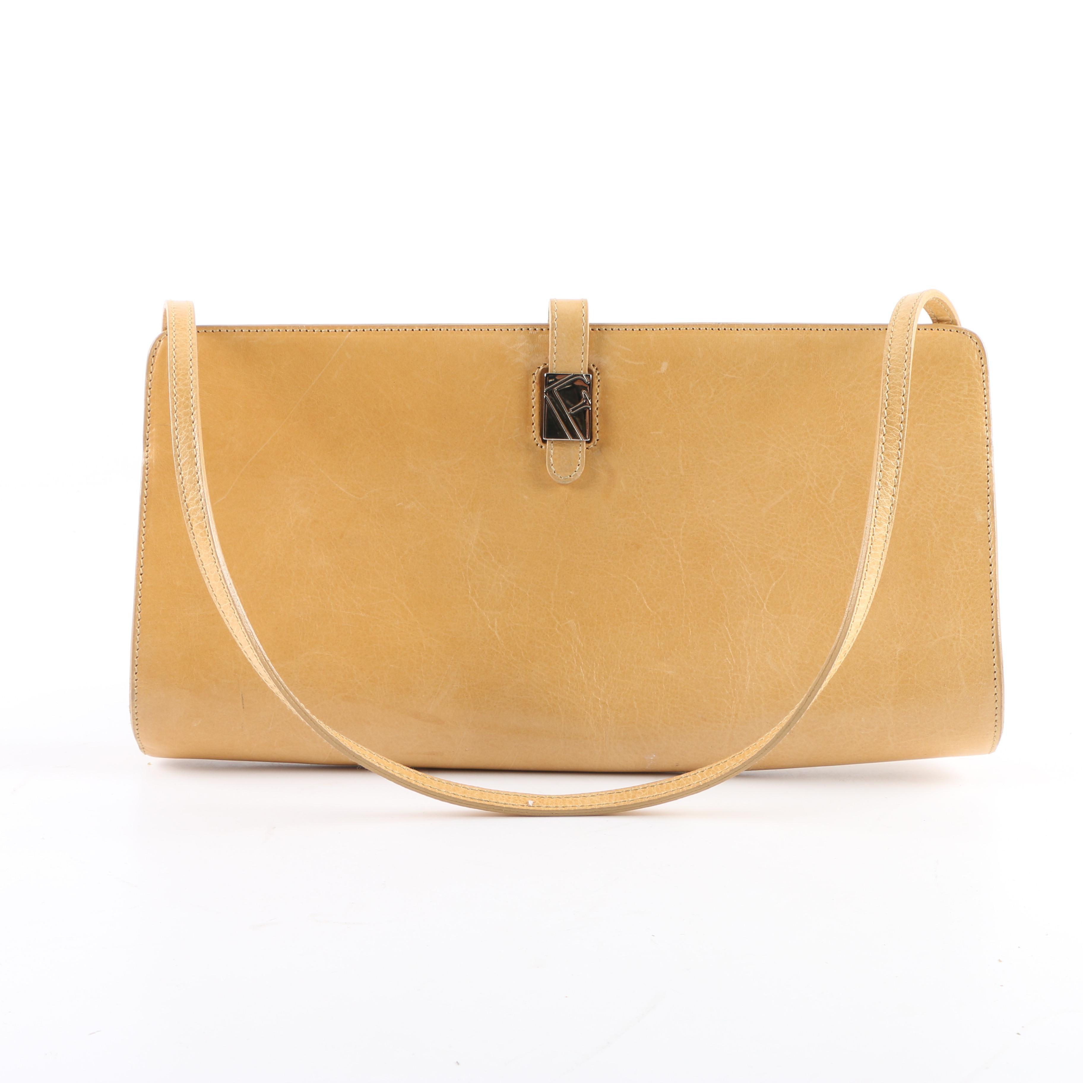 Furla Yellow Leather Baguette Bag