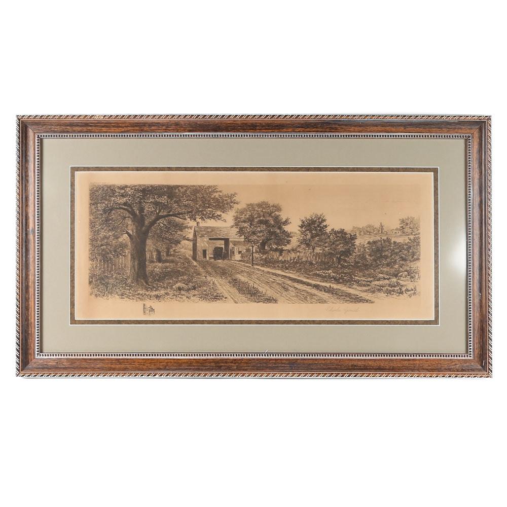 Charles Gondel Antique Landscape Etching