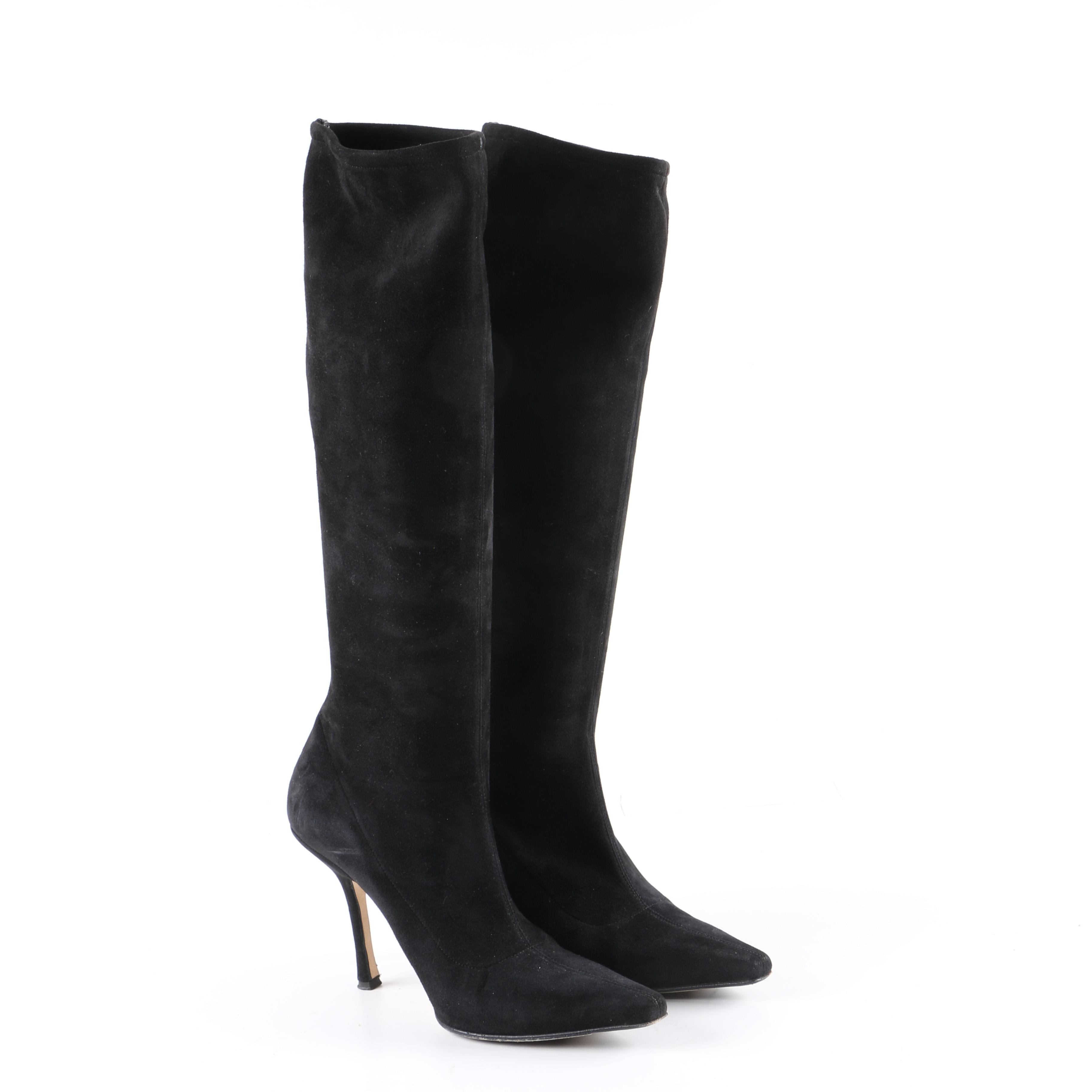 Jimmy Choo Holly Black Suede Knee-High Boots