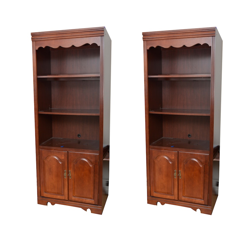 Cherry Bookcase Cabinets By Broyhill