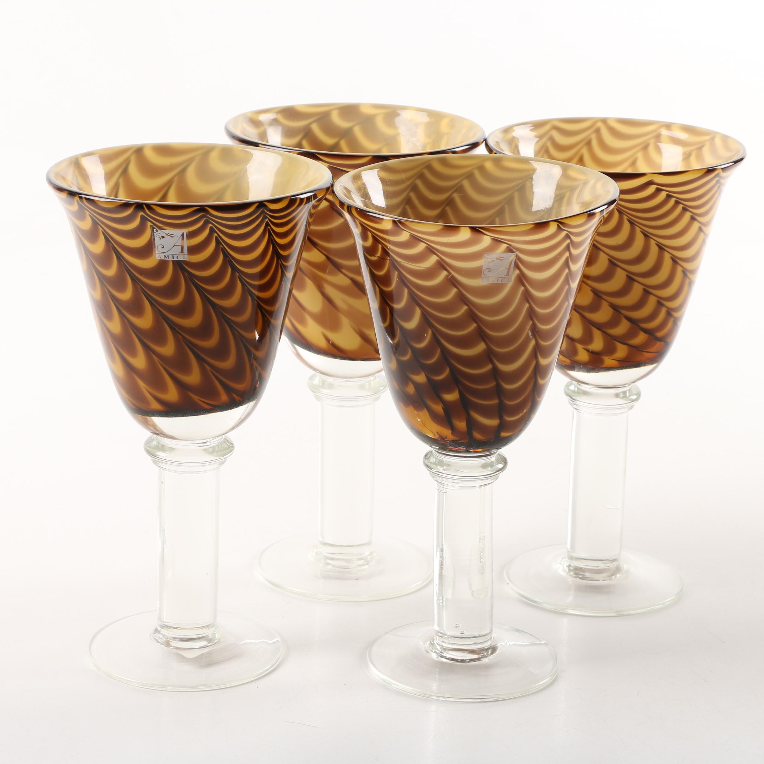 """Global Amici """"Peacock"""" Blown Glass Water Goblets"""