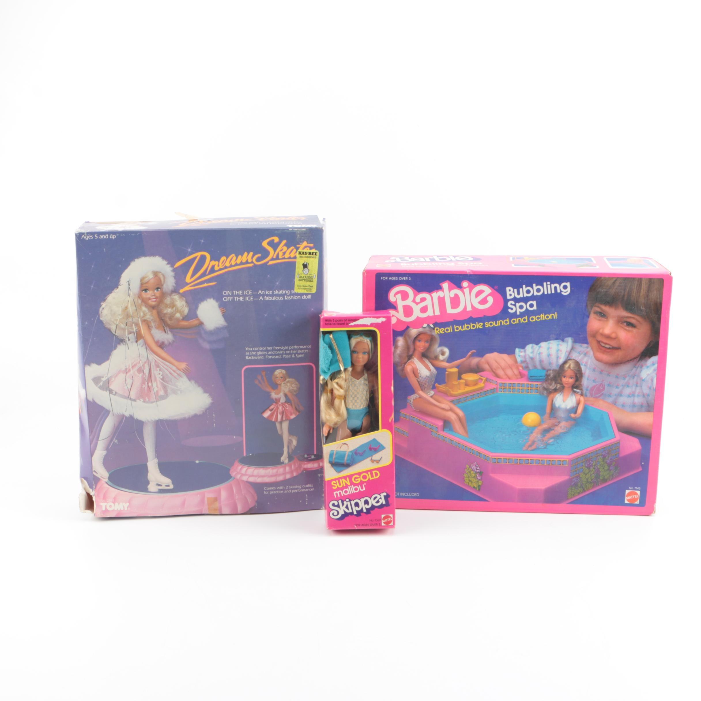"1980s Mattel Barbie ""Bubbling Spa"" Set and ""Sun Gold Malibu"" Skipper Doll"