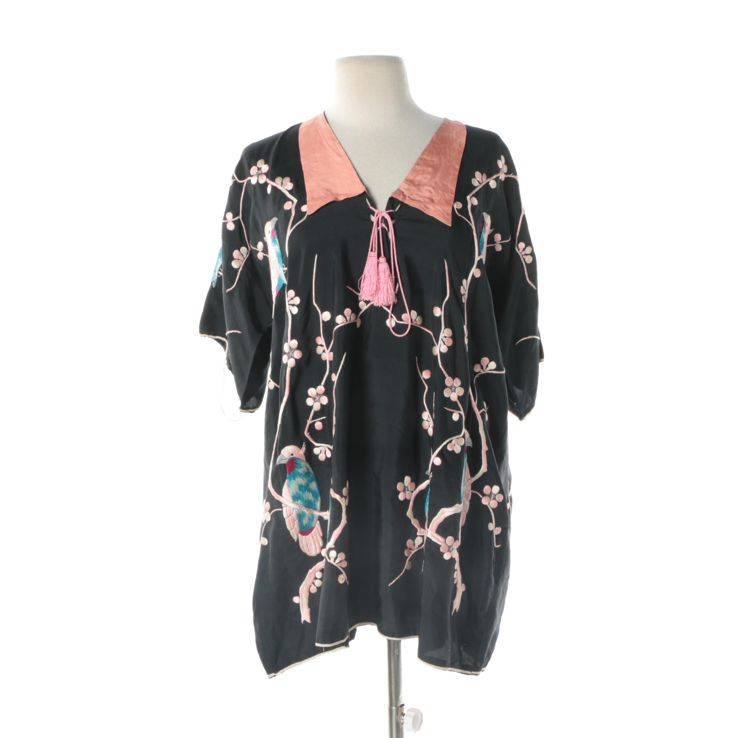 Women's Vintage Japanese Black Silk Top with Embroidered Cherry Blossoms