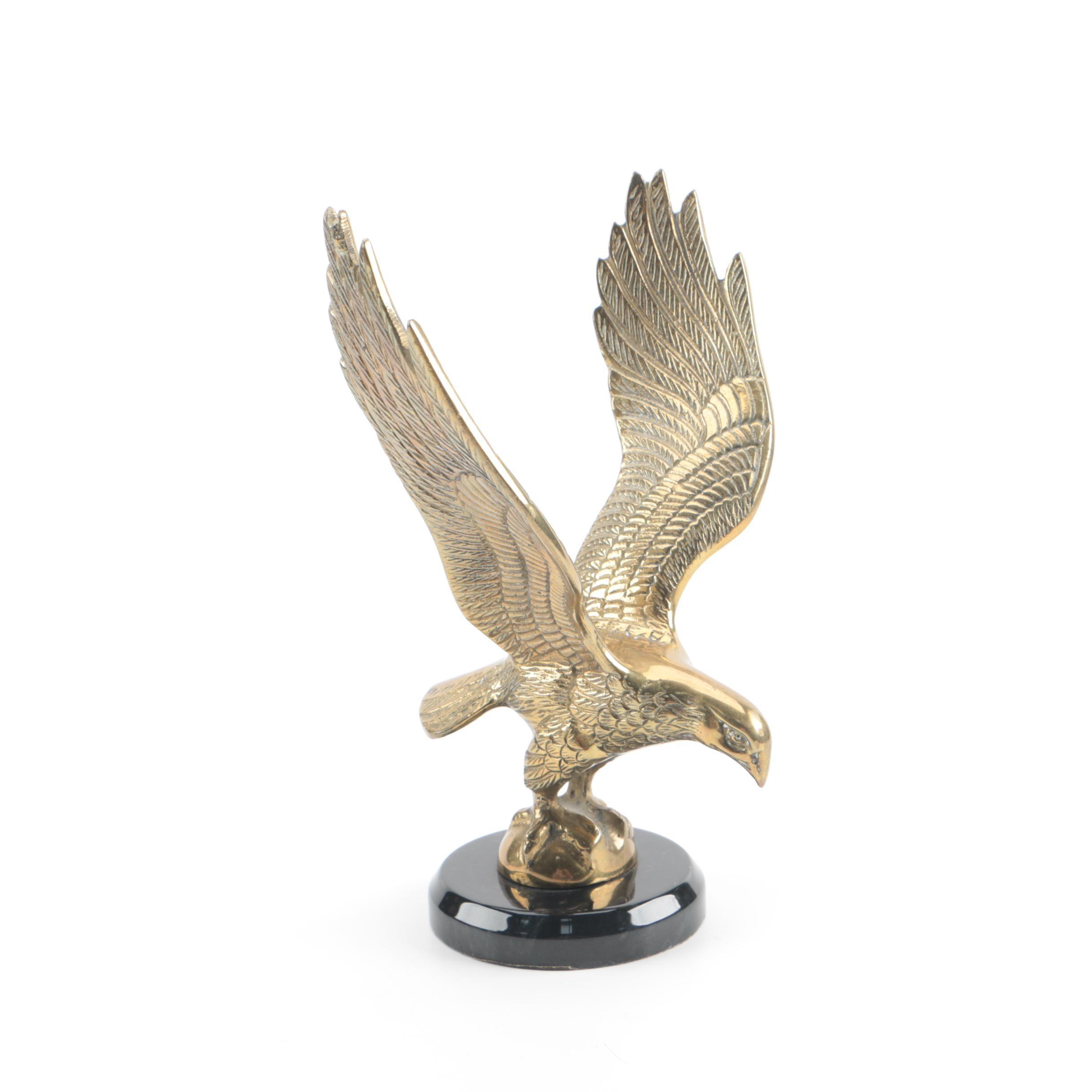Brass Eagle Figurine on Enameled Stand