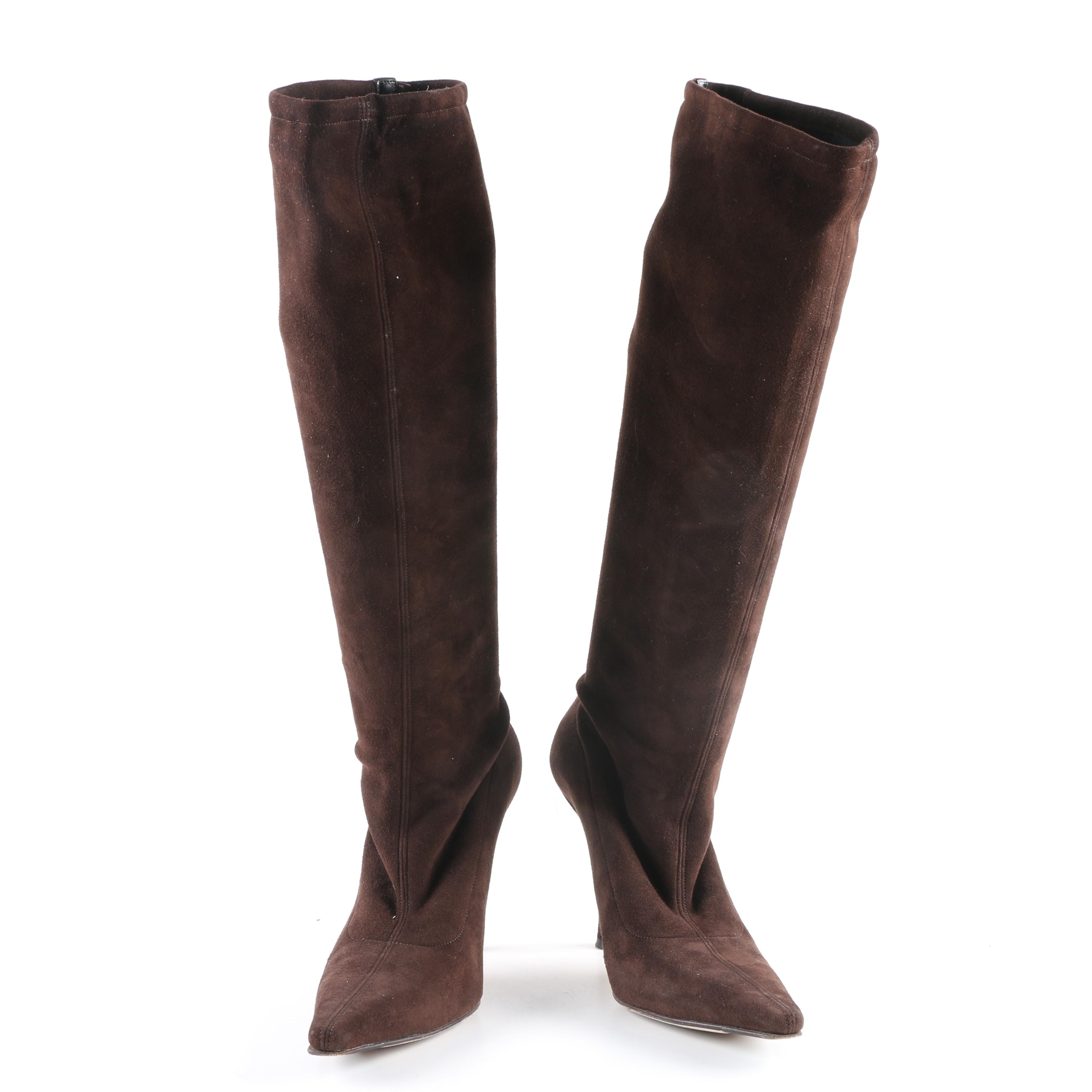 Jimmy Choo Brown Suede Knee-High Boots