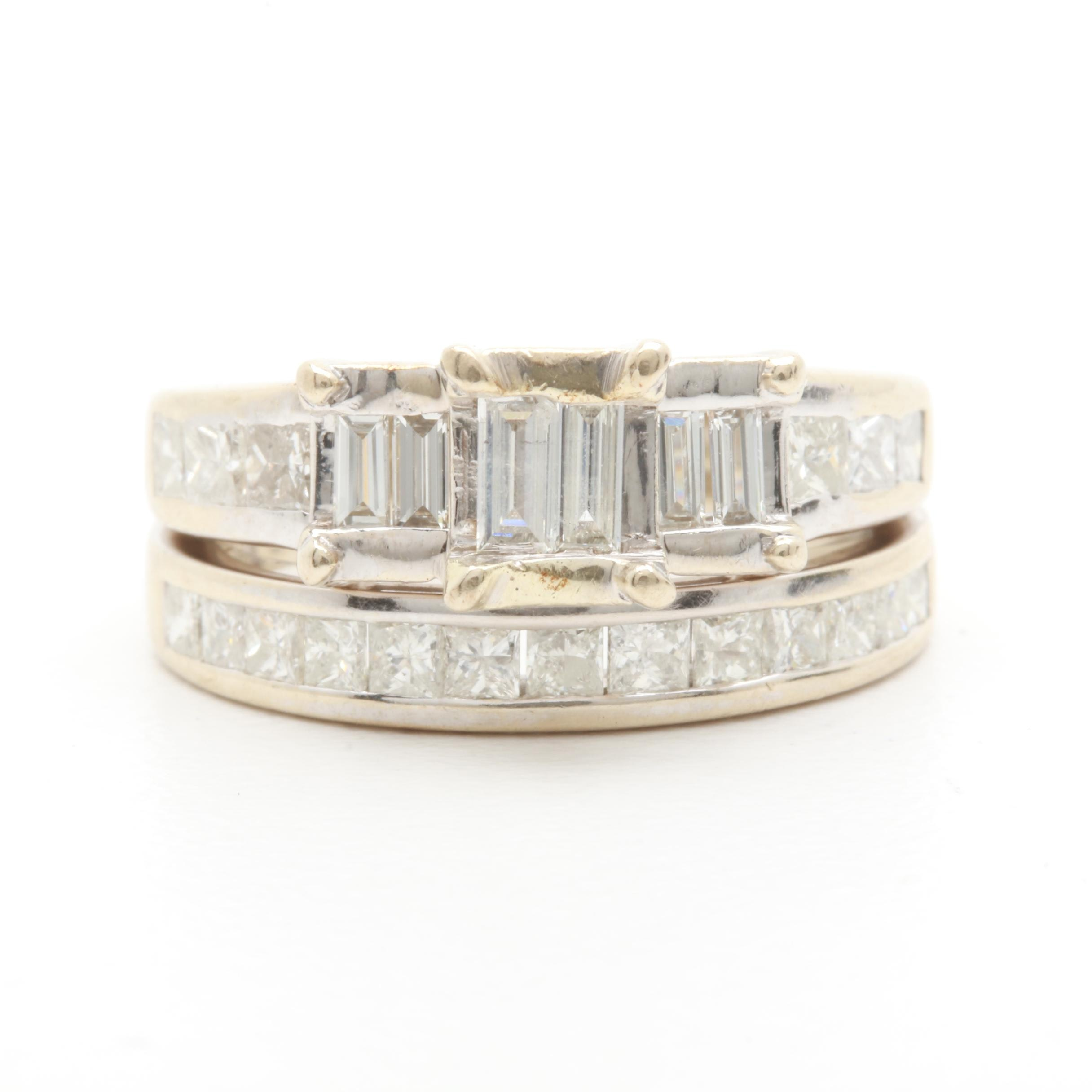 14K White Gold 0.99 CTW Diamond Wedding Ring Set
