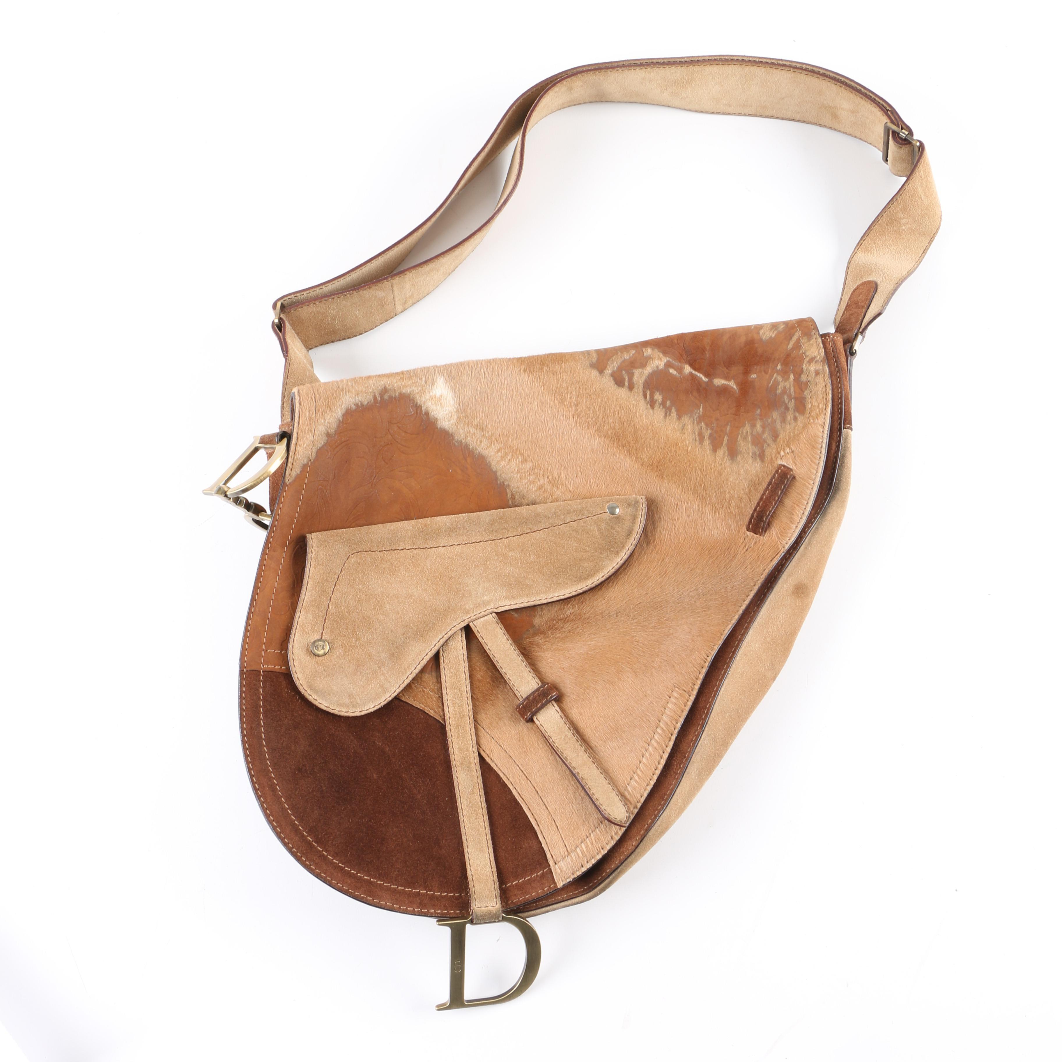 Christian Dior Suede and Calf Hair Saddle Handbag