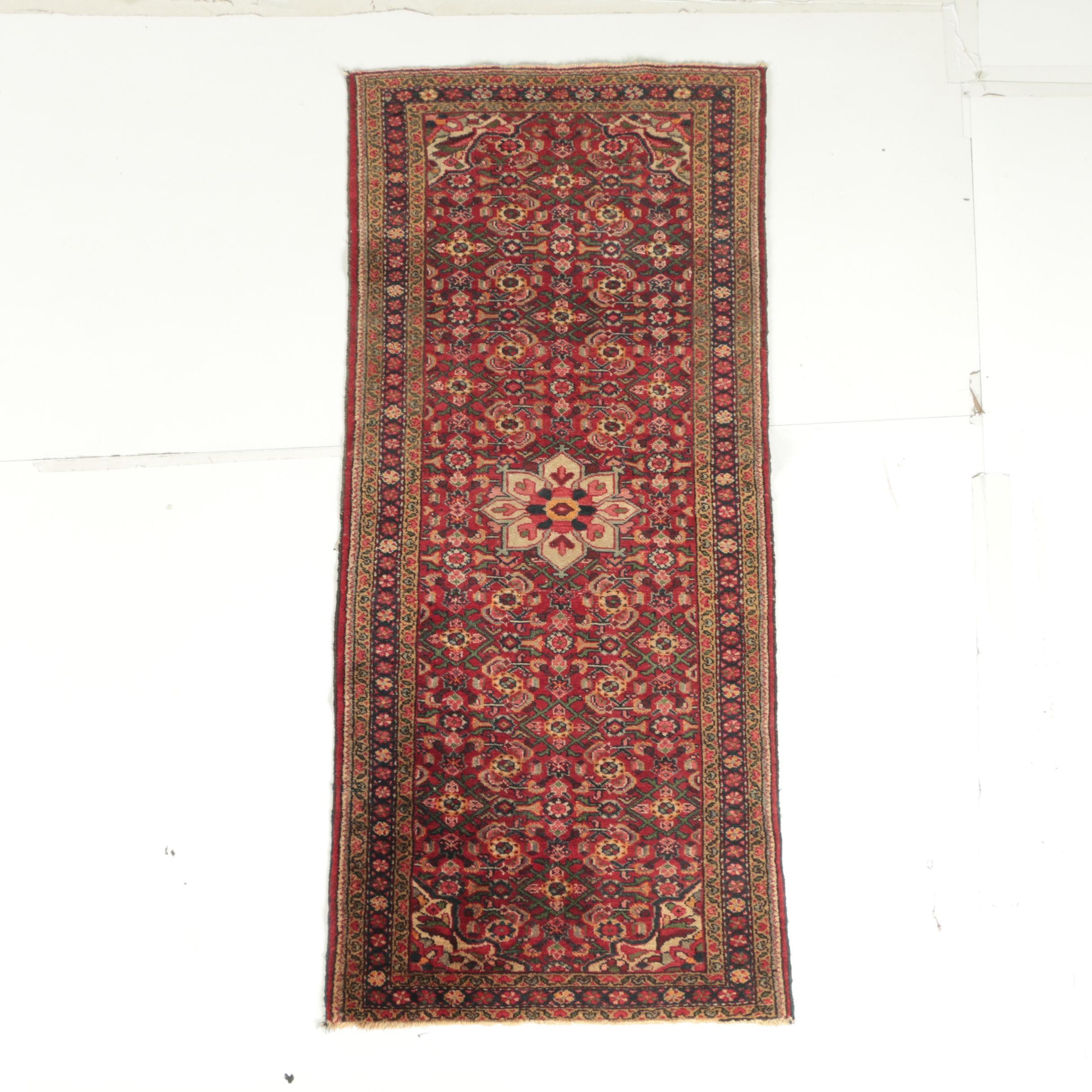 Vintage Hand-Knotted Persian Bijar Wool Carpet Runner