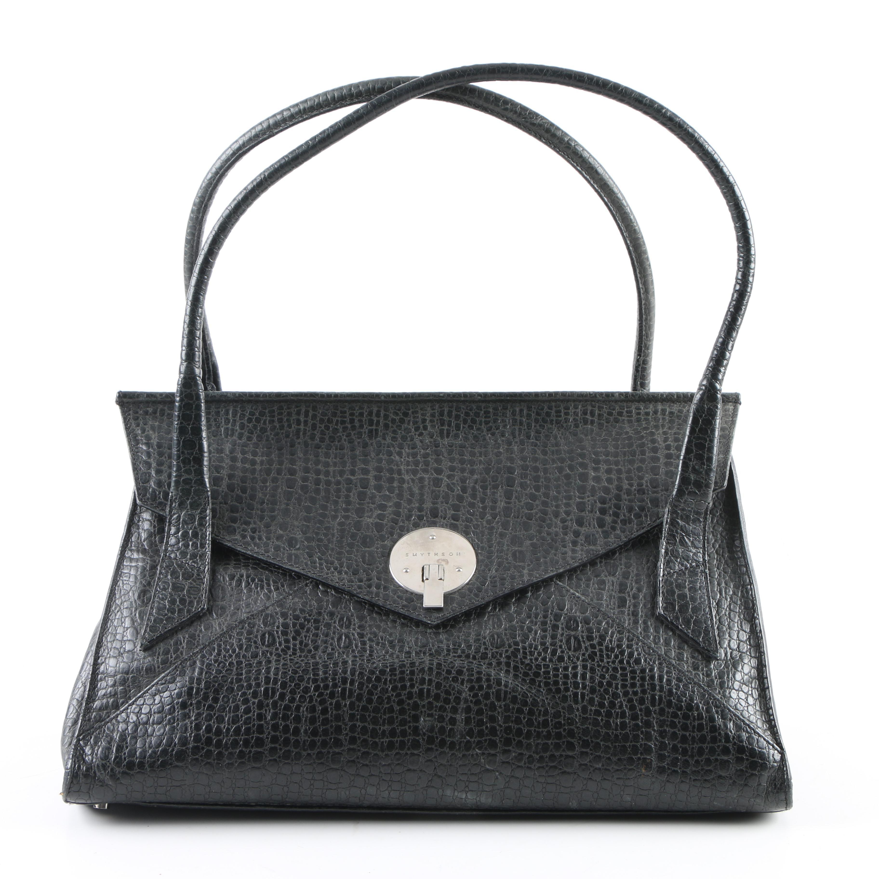 Smythson of Bond Street Black Embossed Leather Handbag
