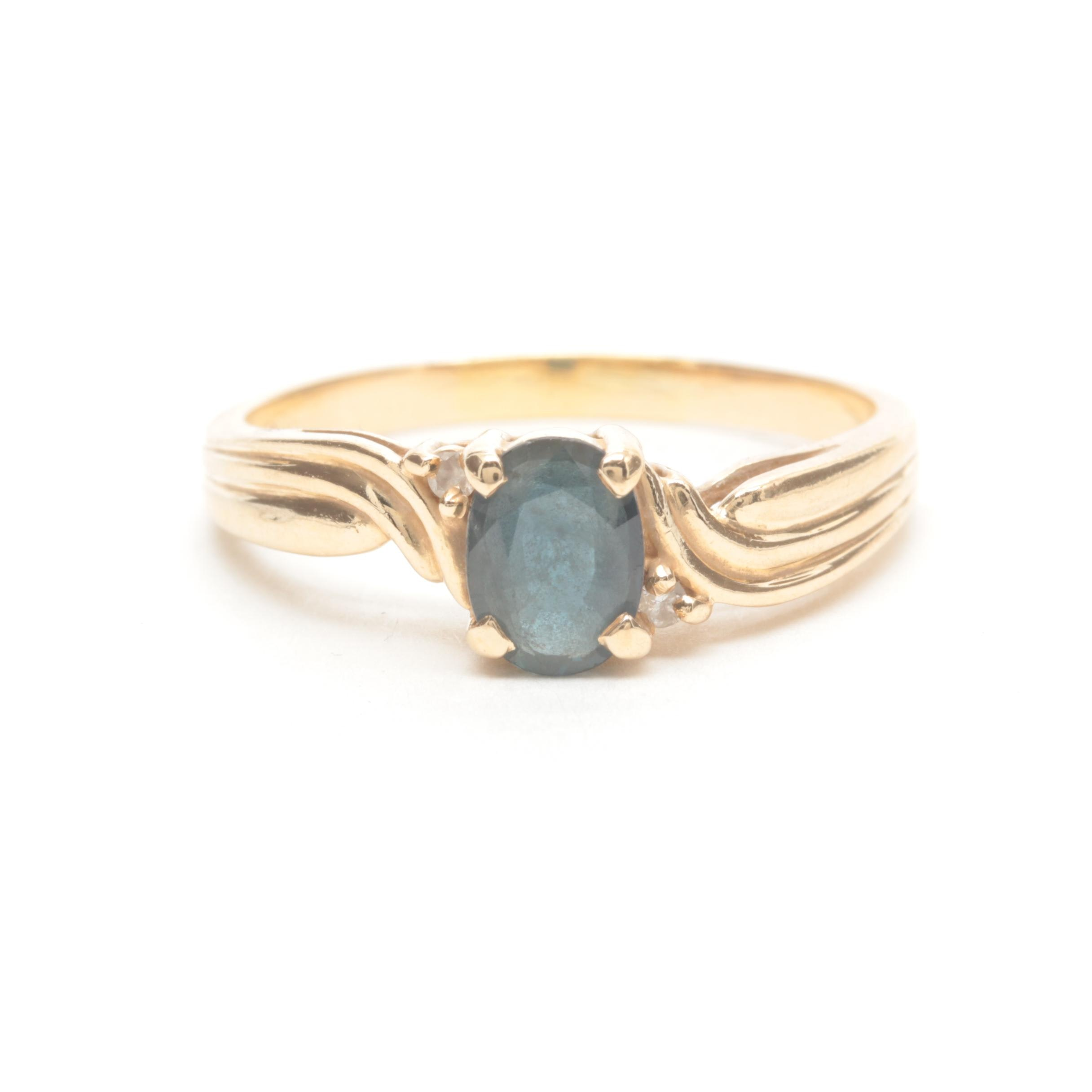 14K Yellow Gold Sapphire and Diamond Accented Ring