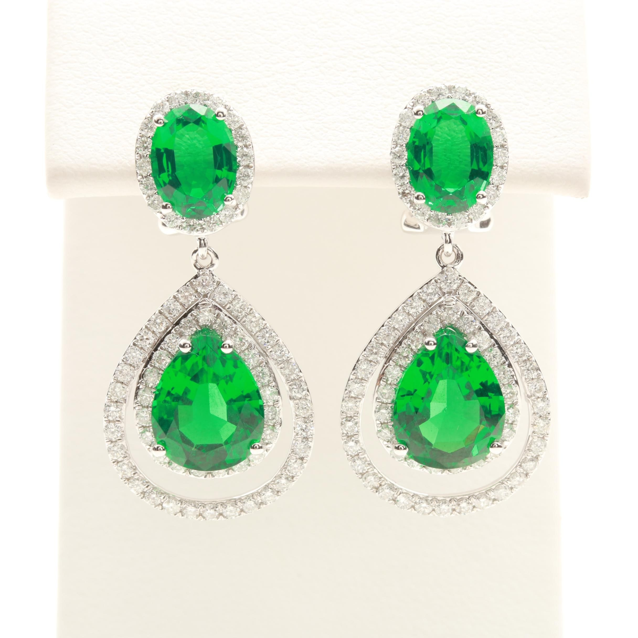 14K White Gold Synthetic Emerald and 1.51 CTW Diamond Earrings
