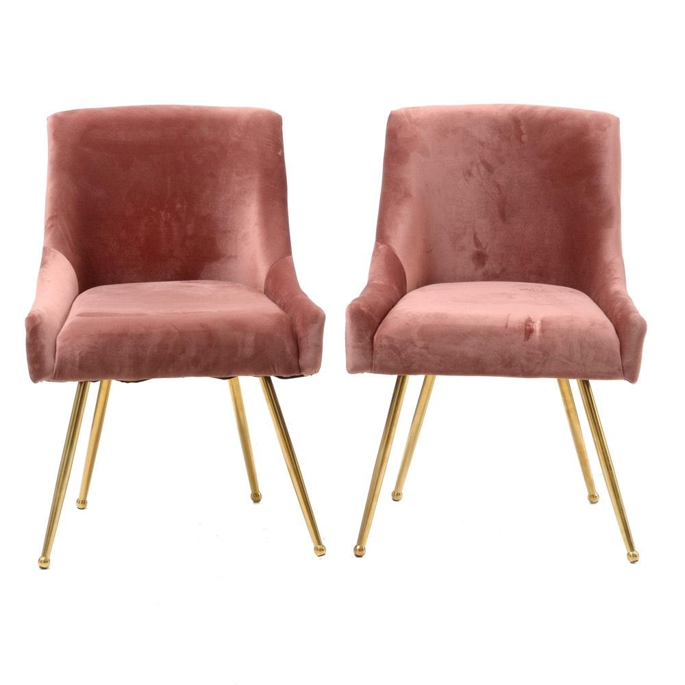 Pair of Mauve Velour Gondola Chairs