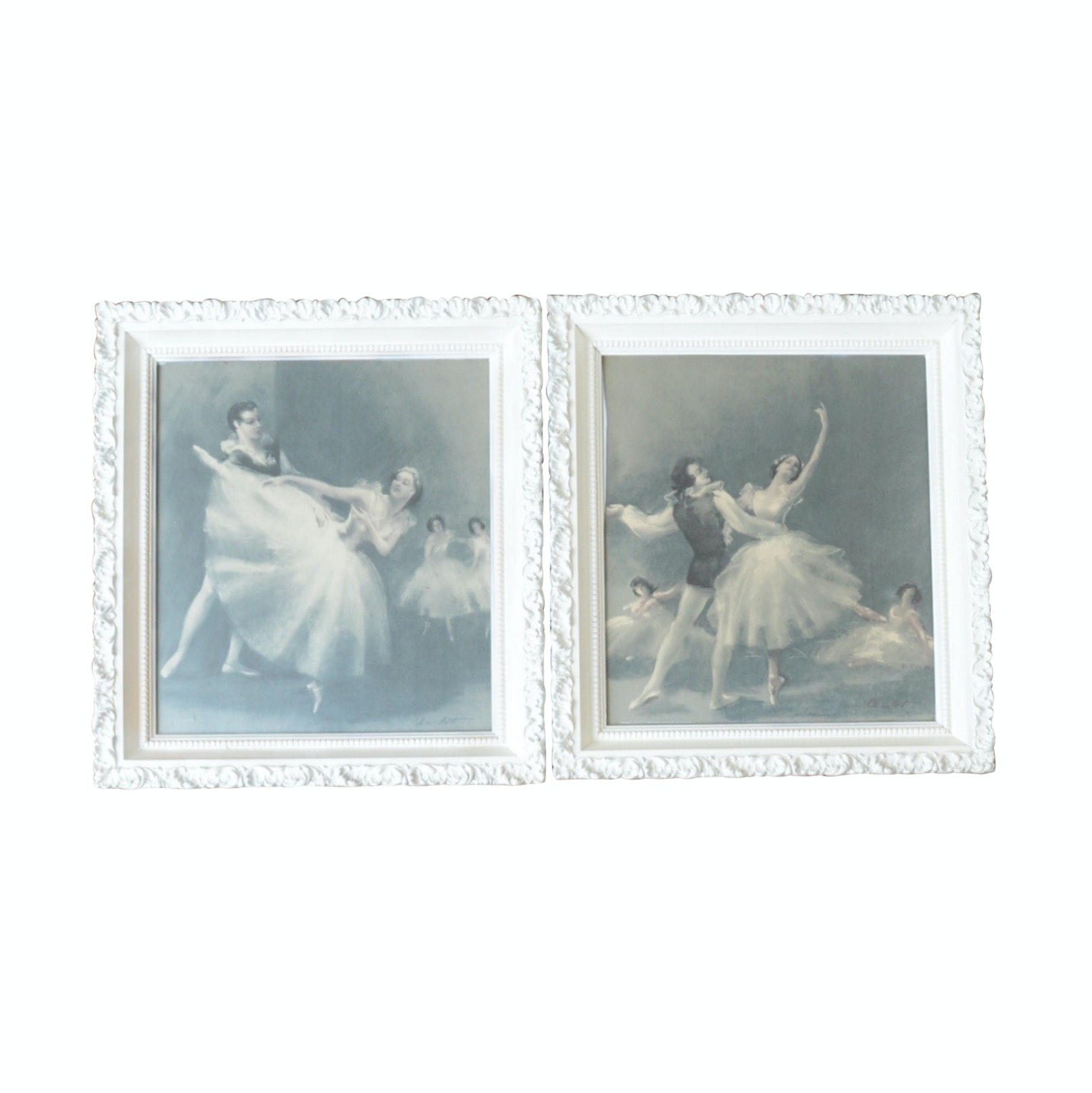Pair of Prints with Shabby Chic Wood Frames