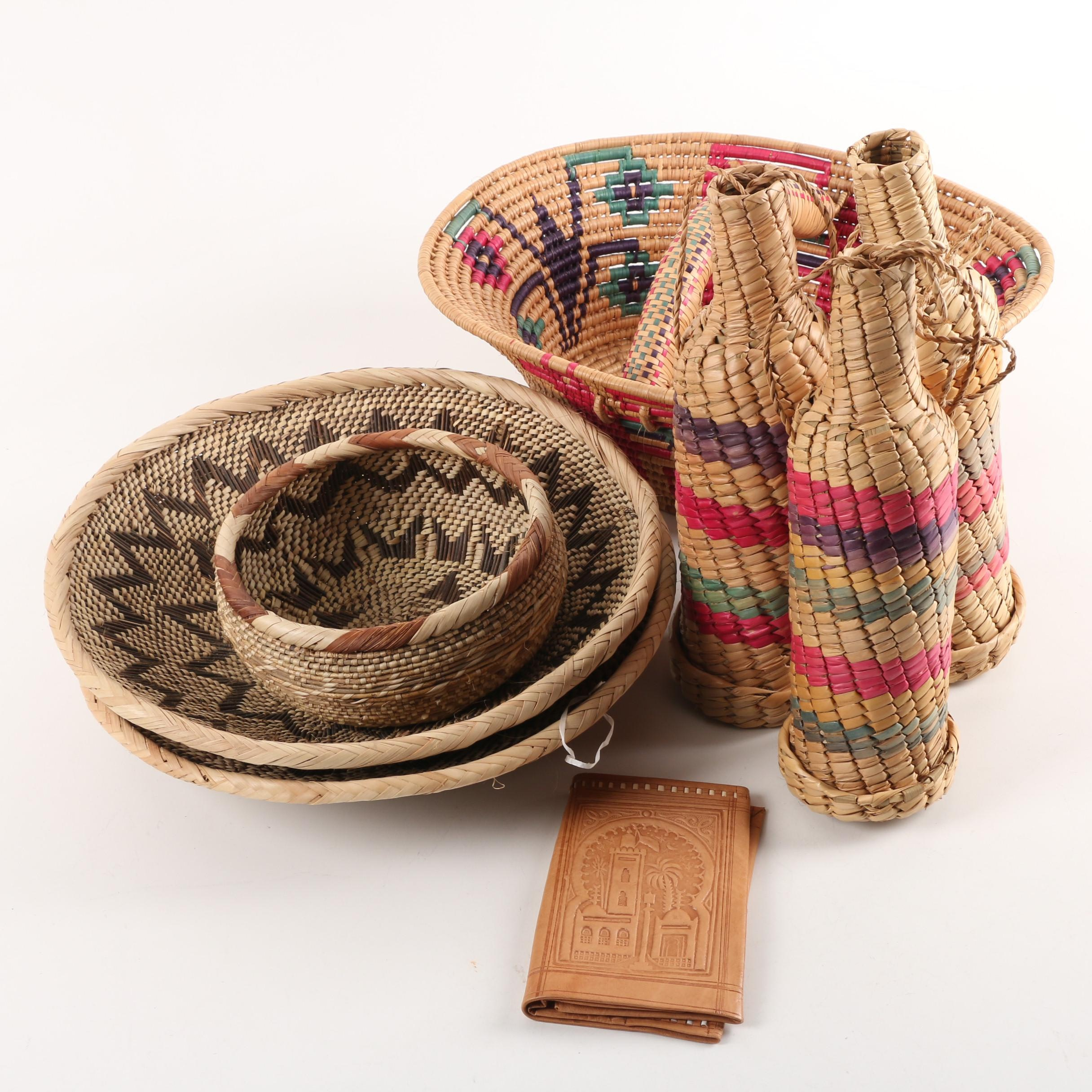 Woven Basket, Bottle Cozies, and Bowls with Leather Wallet