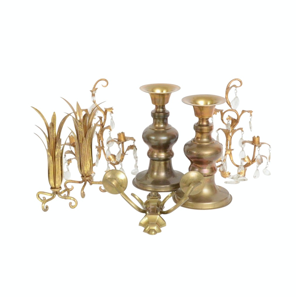 Two Pair of Ornate Candle Holders and Wall Sconces