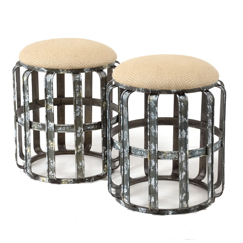 Pair of Distressed Metal Frame Footstools