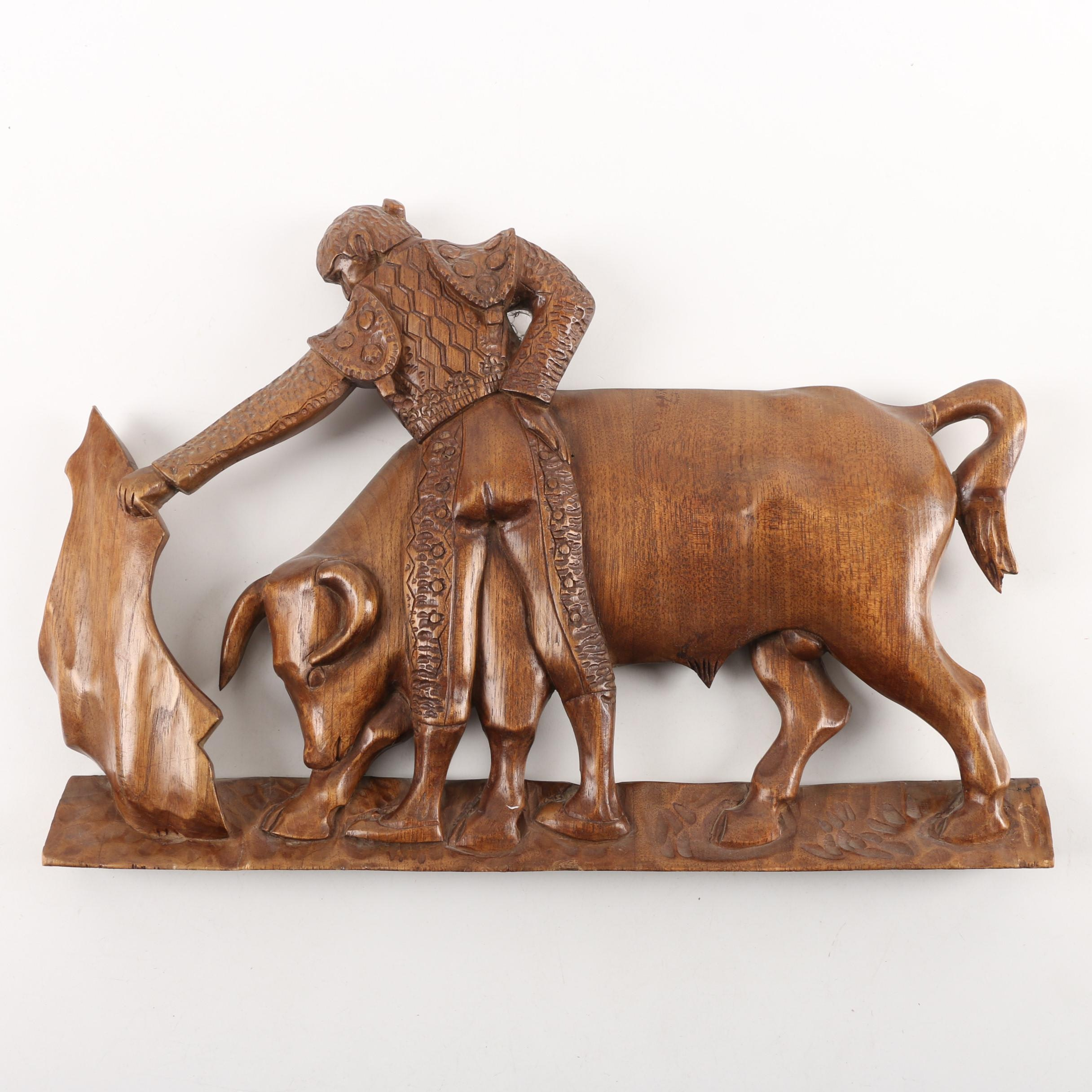 Vintage Carved Wooden Plaque of Matador and Bull