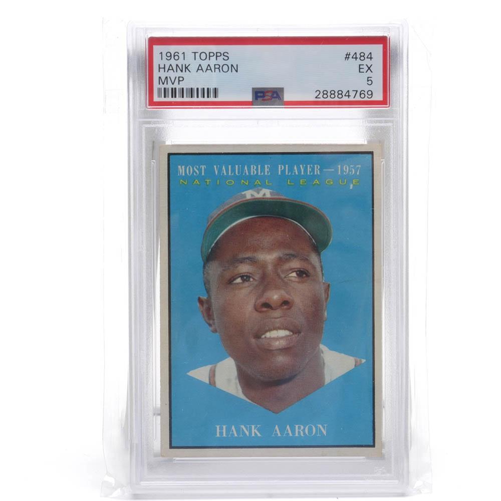 1961 Topps #484 Hank Aaron PSA Graded Baseball Card