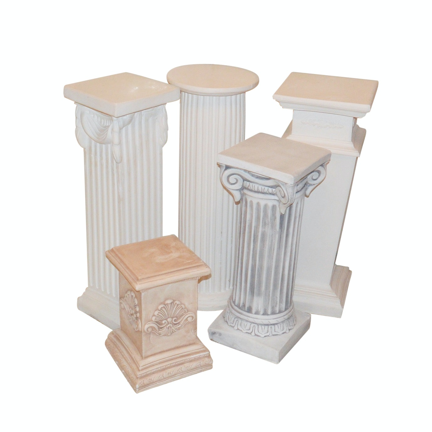 Collection of Five Plaster Pillars