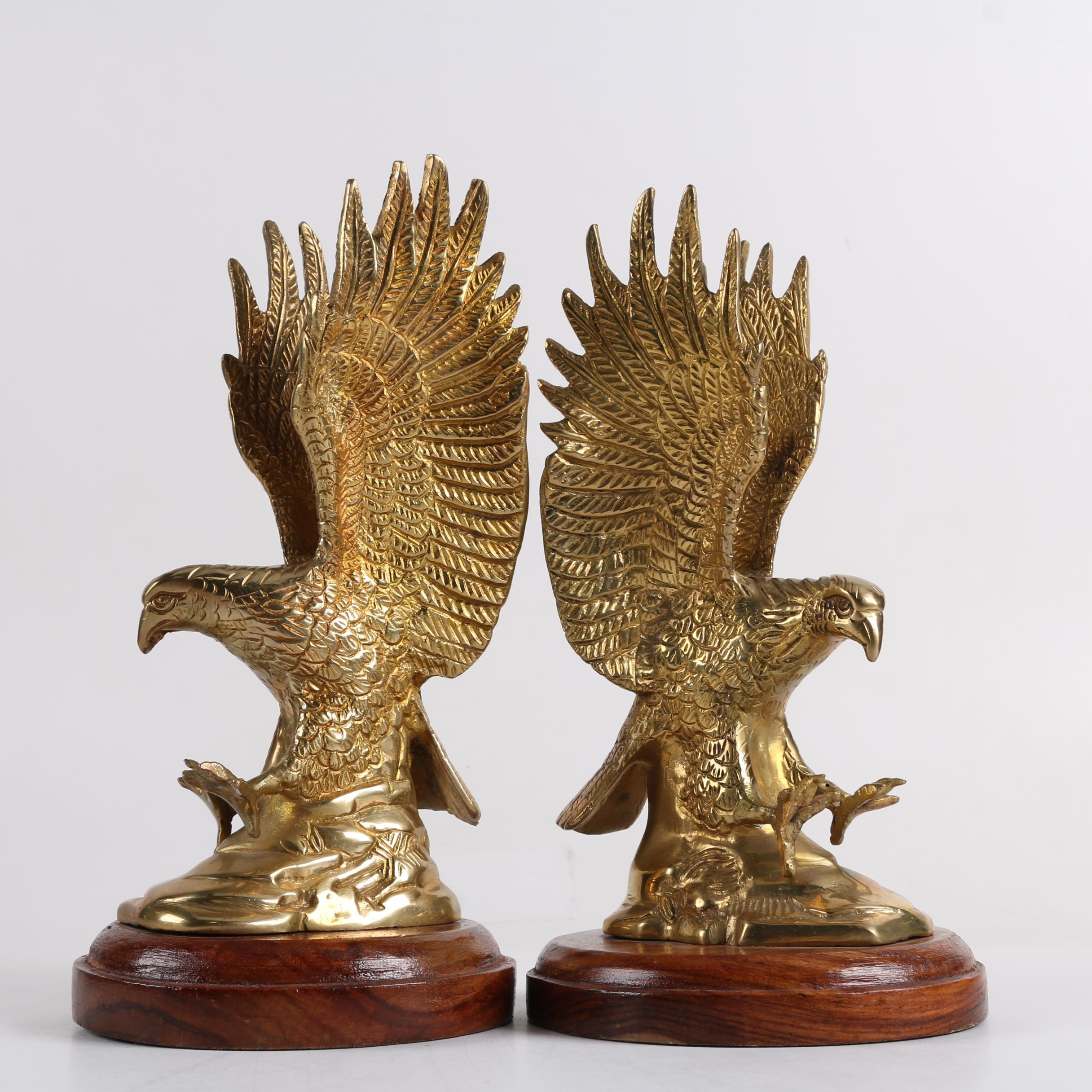 Indian Solid Brass Eagle Bookends with Wooden Bases