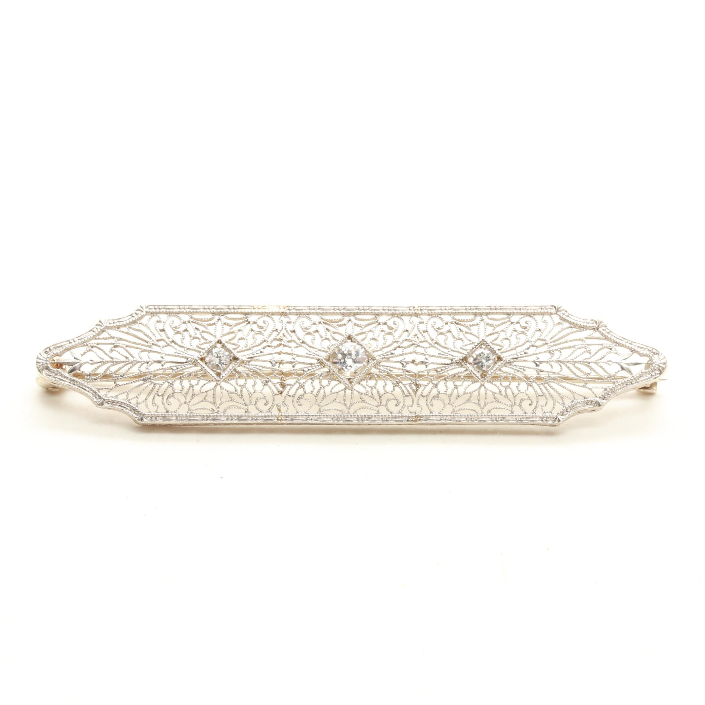 Platinum and 14K White Gold Synthetic White Spinel Brooch