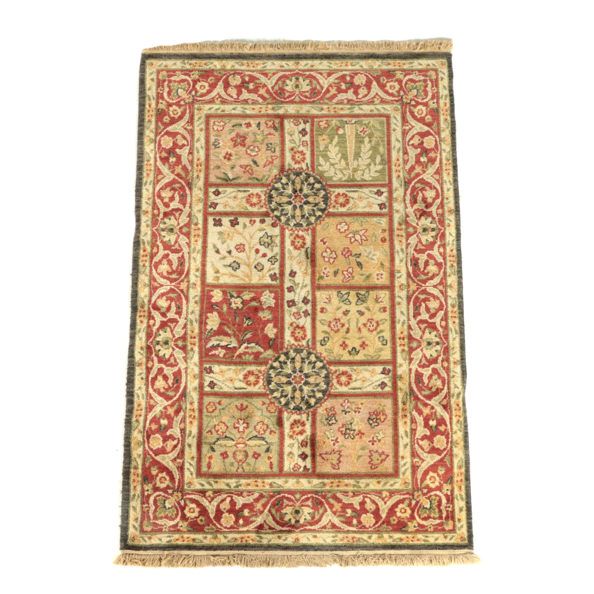 Power-Loomed Indo-Persian Bakhtiari-Style Paneled Accent Rug