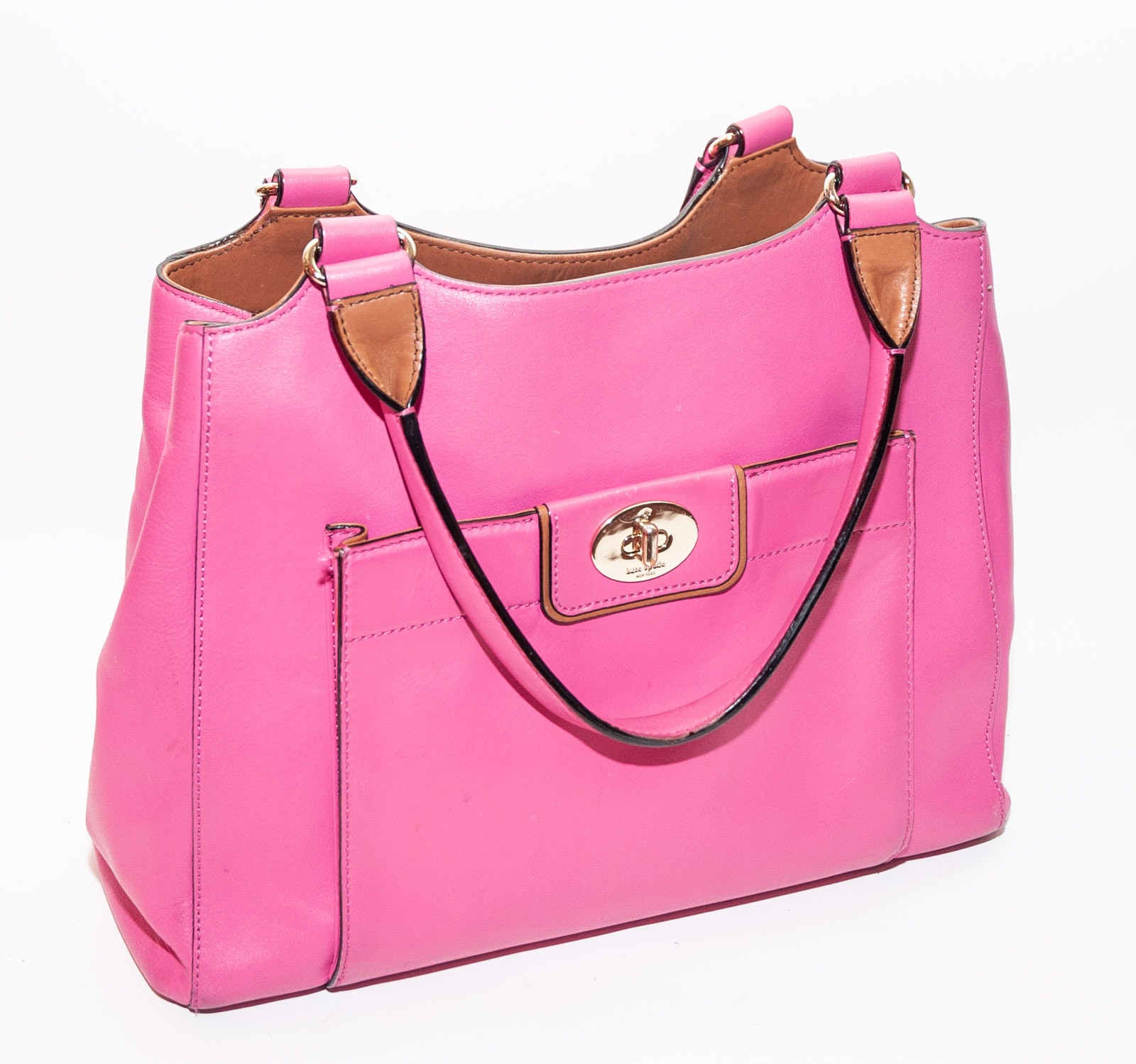 Kate Spade New York Pink and Tan Leather Handbag