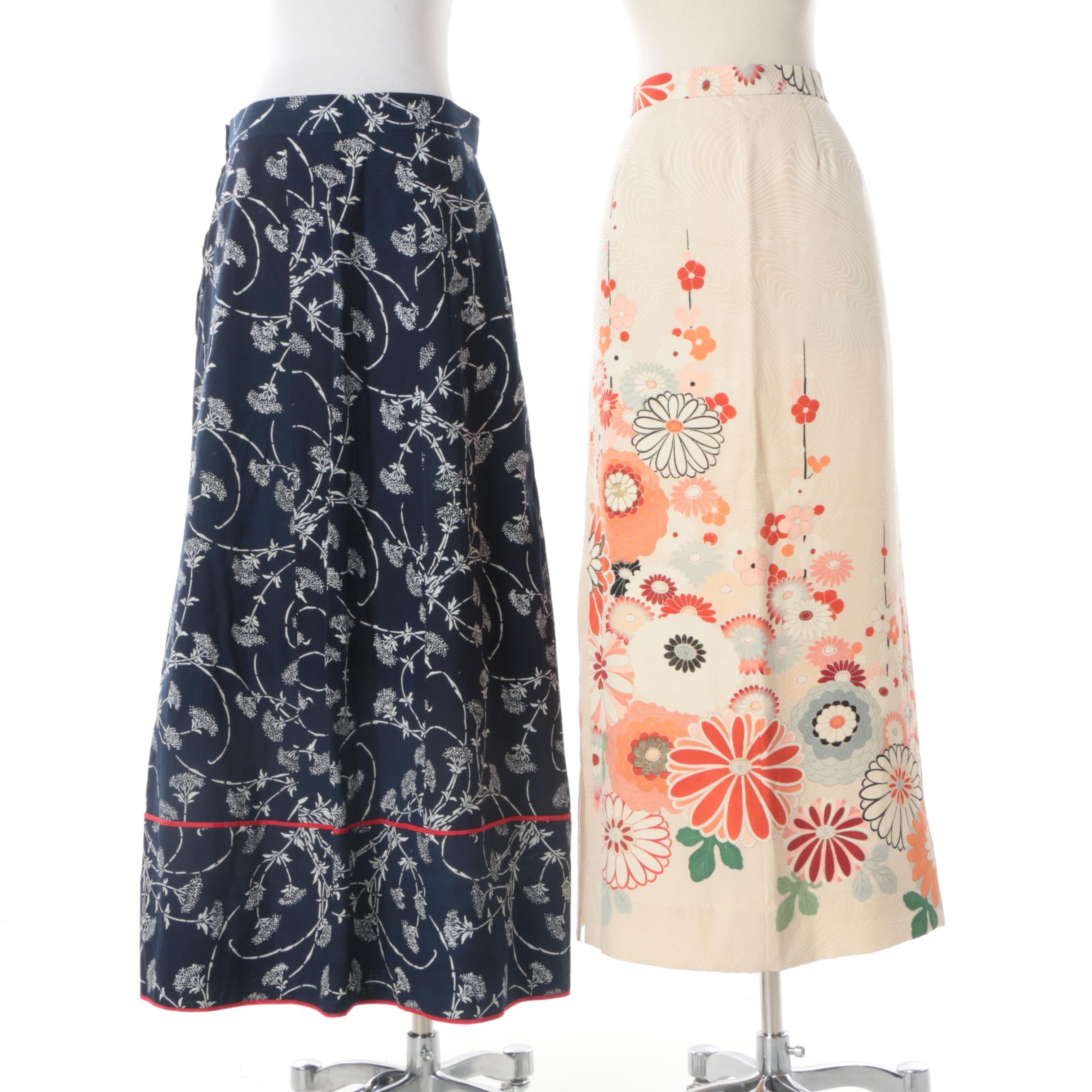 Women's Circa 1970s Vintage Floral Print Maxi Skirts Including Tomoyo