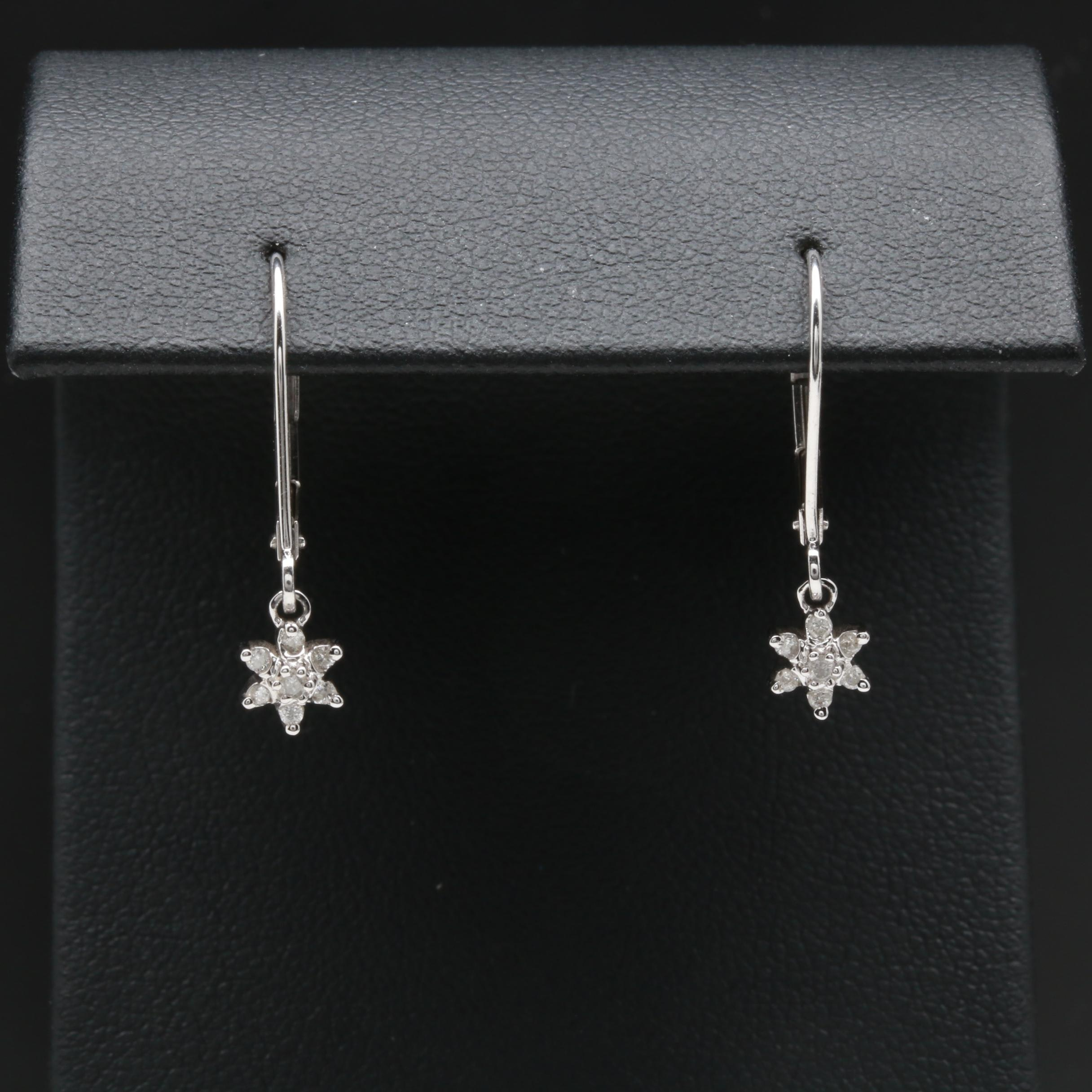 10K White Gold Diamond Flower Dangle Earrings