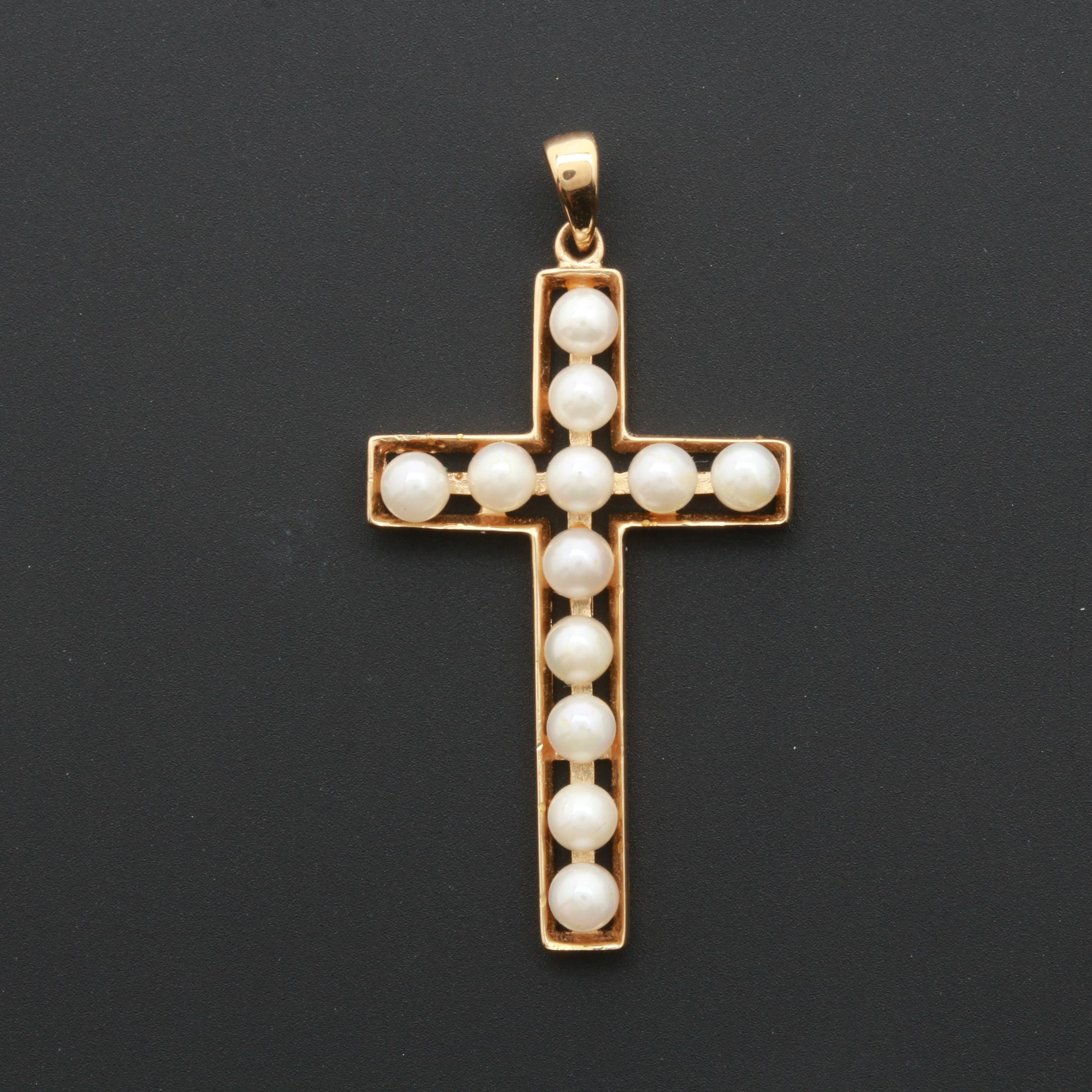 14K Yellow Gold Cultured Pearl Cross Pendant