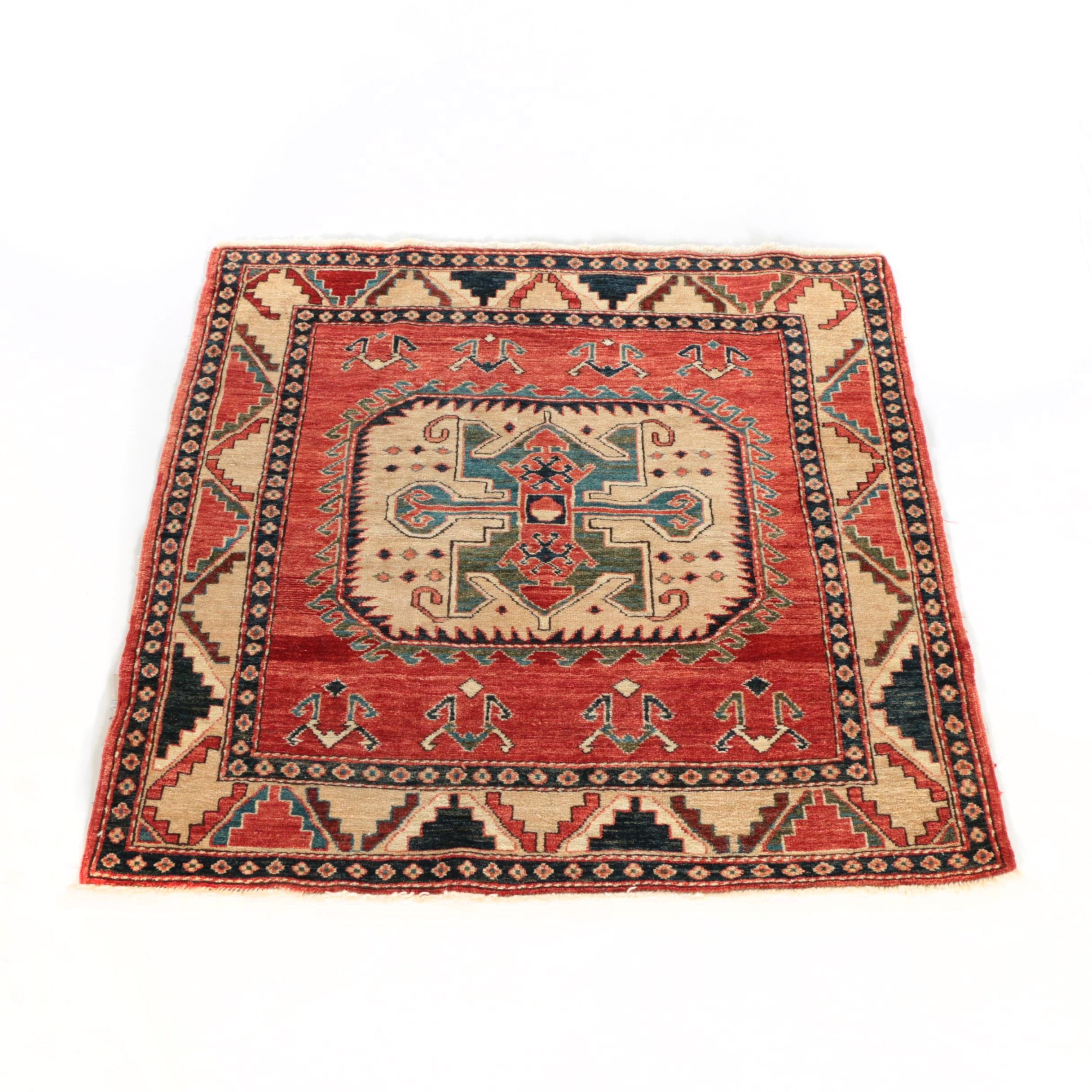 Hand-Knotted Turkish Kazak Accent Rug