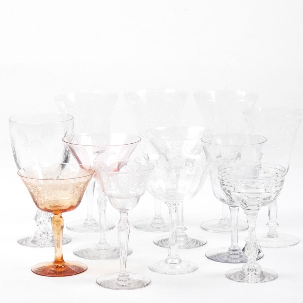 Vintage Etched Glass Stemware