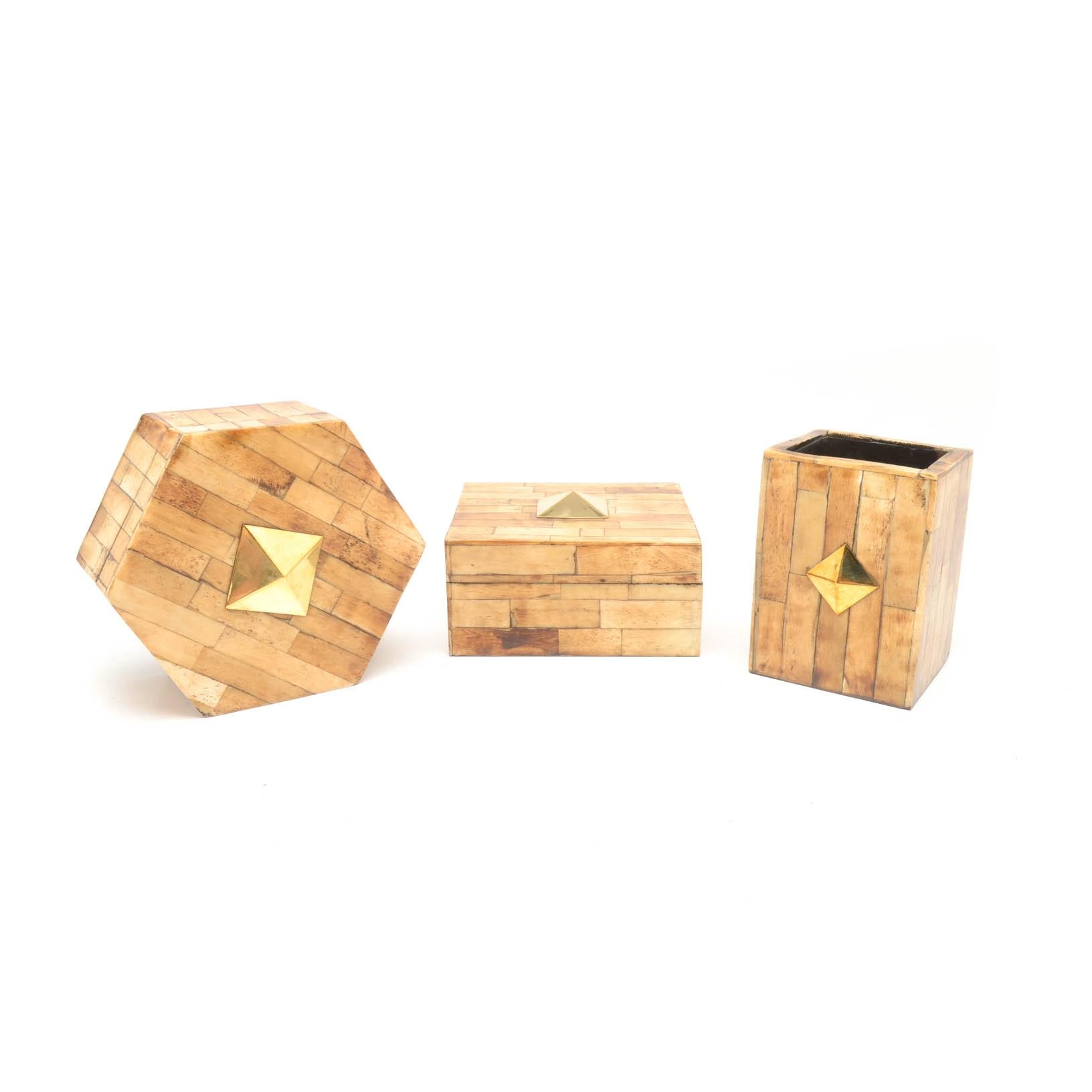 Set of Decorative Acacia Veneer Parquetry Boxes