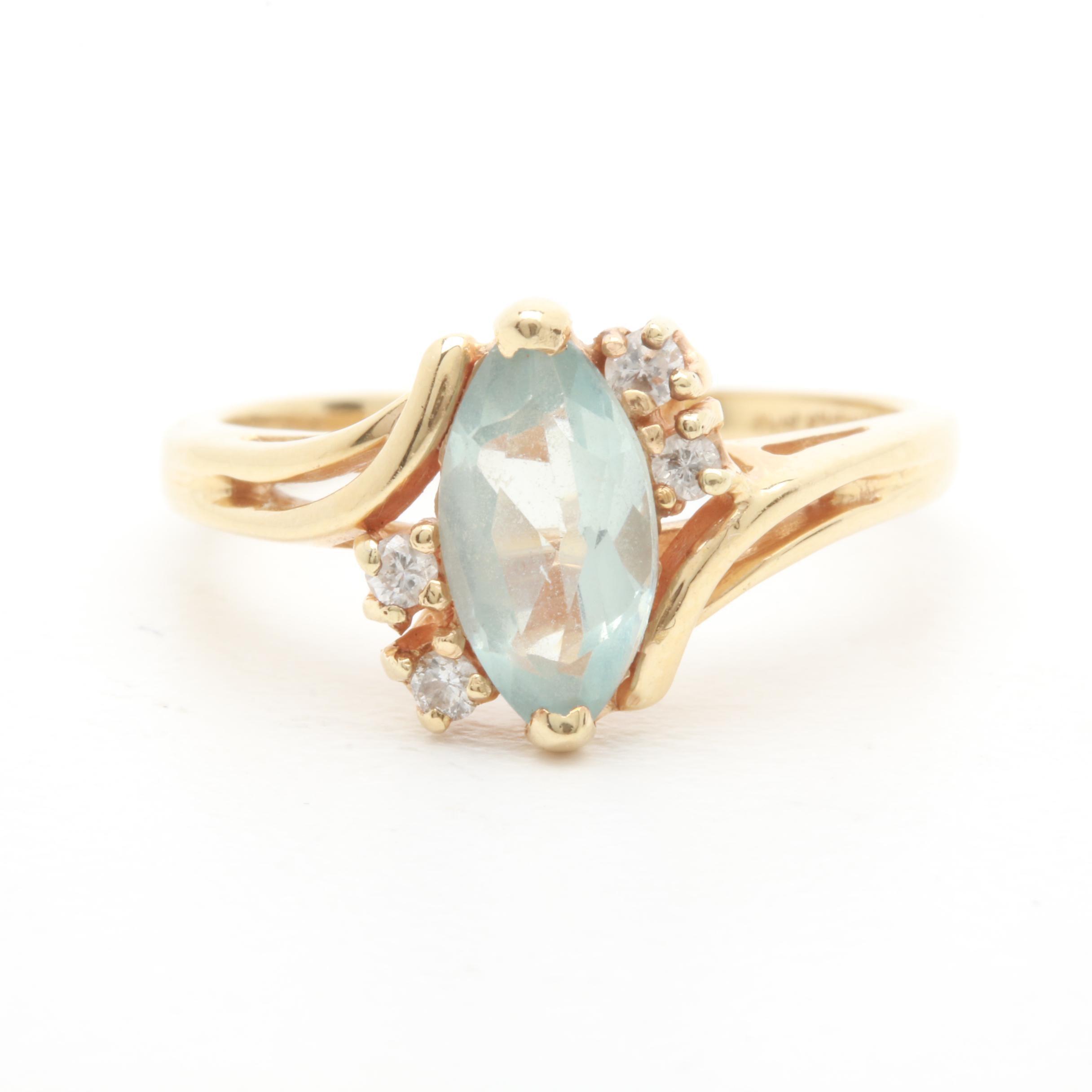 14K Yellow Gold Aquamarine and Diamond Ring
