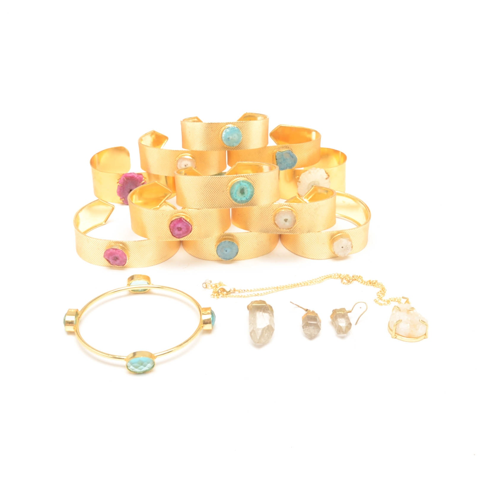 Sixteen Pieces of Gold Tone Jewelry With Natural Stones and Faceted Glass