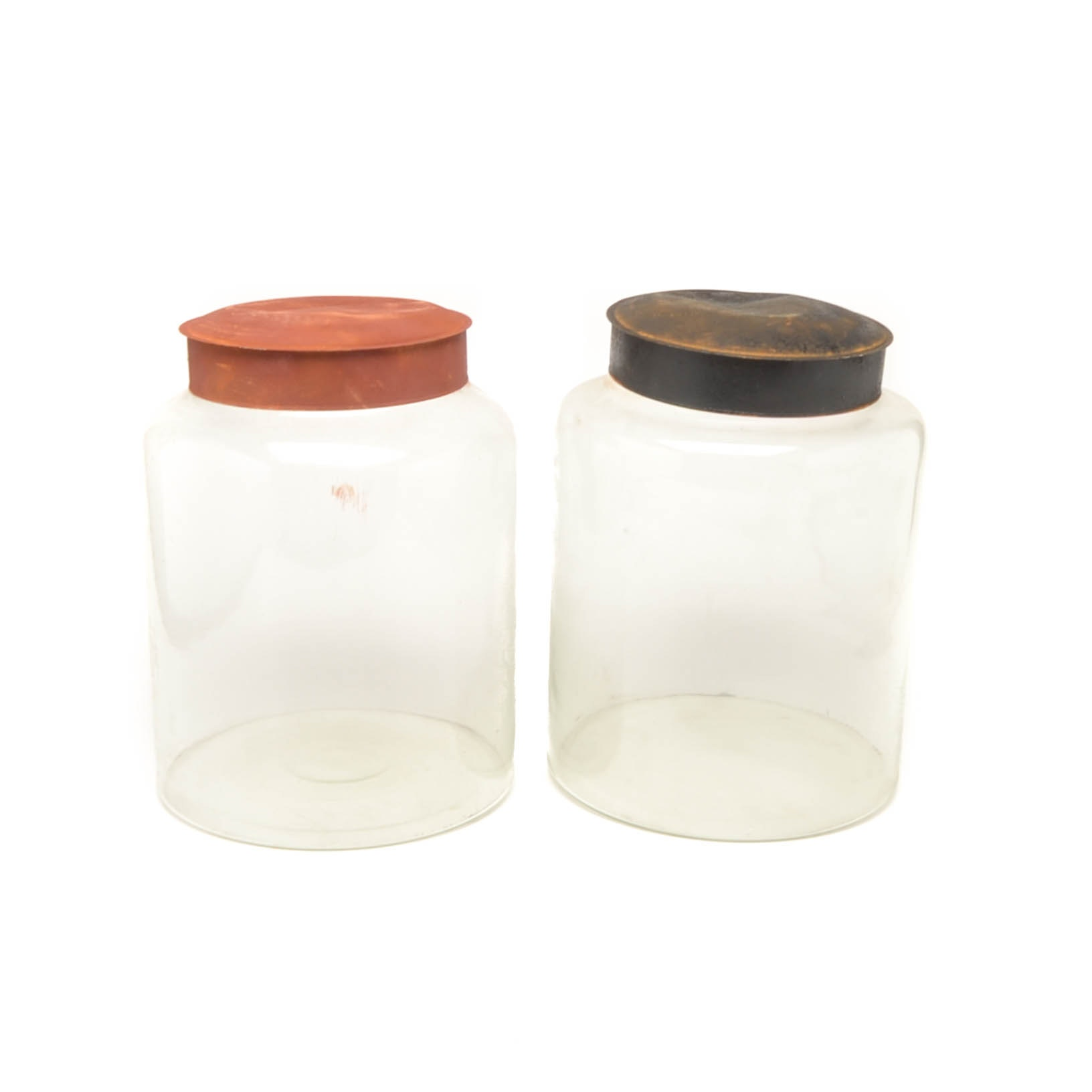 Pair of Large Decorative Glass Jars with Distressed Metal Lids