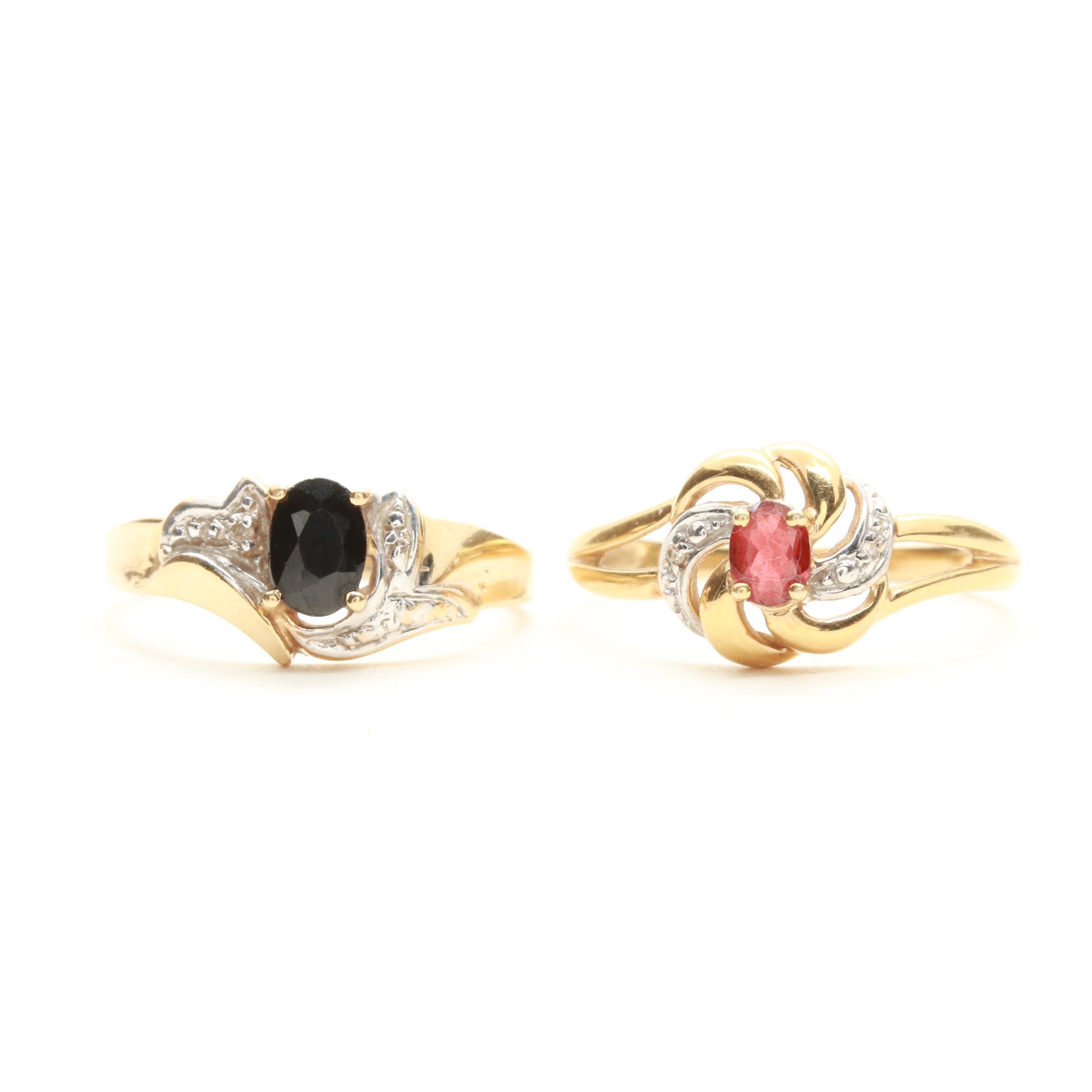 10K Yellow Gold Garnet, Black Spinel and Diamond Rings