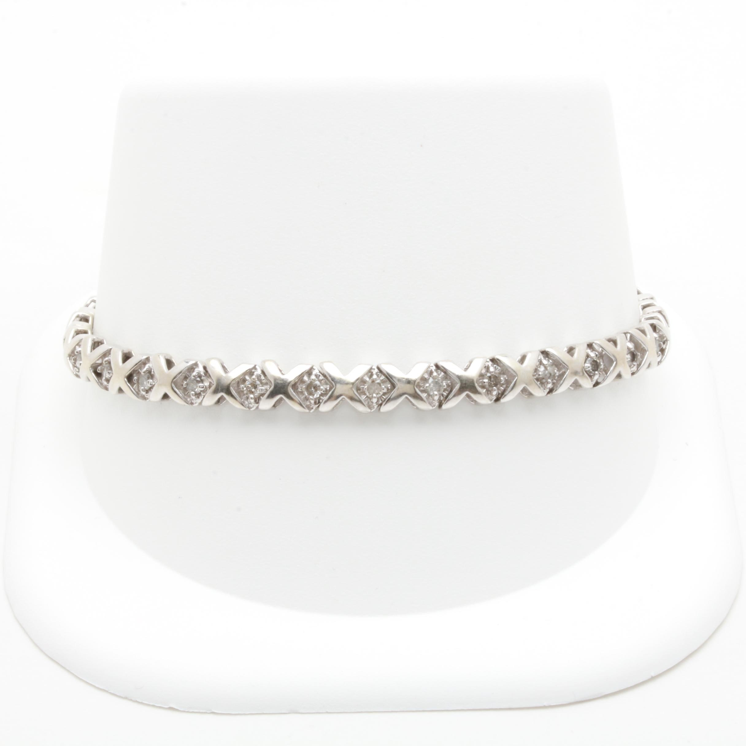 10K White Gold Diamond Link Bracelet